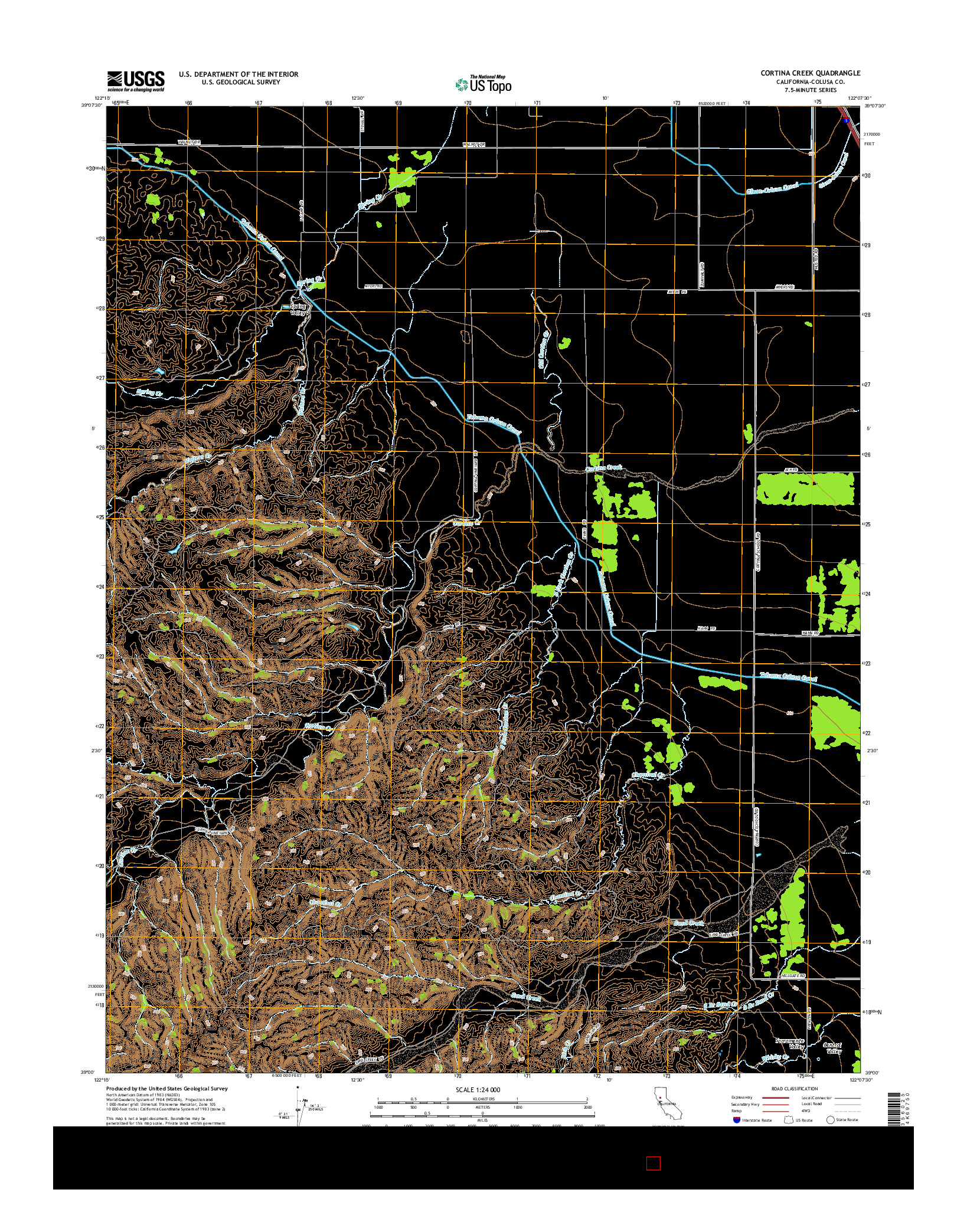 USGS US TOPO 7.5-MINUTE MAP FOR CORTINA CREEK, CA 2015