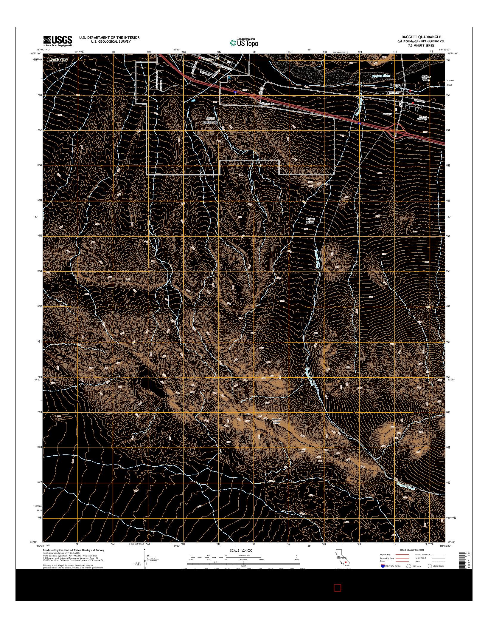 USGS US TOPO 7.5-MINUTE MAP FOR DAGGETT, CA 2015