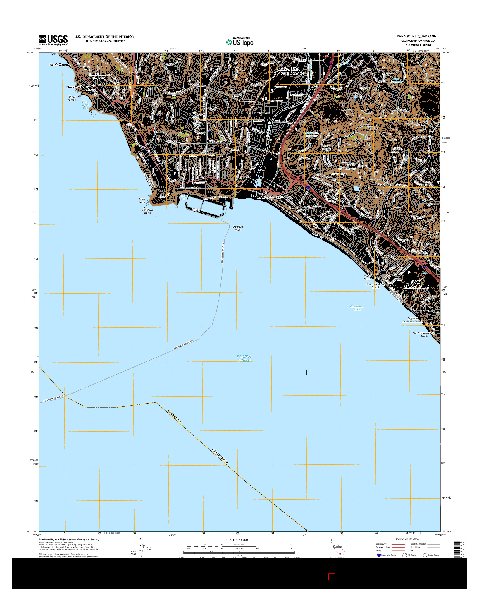 USGS US TOPO 7.5-MINUTE MAP FOR DANA POINT, CA 2015