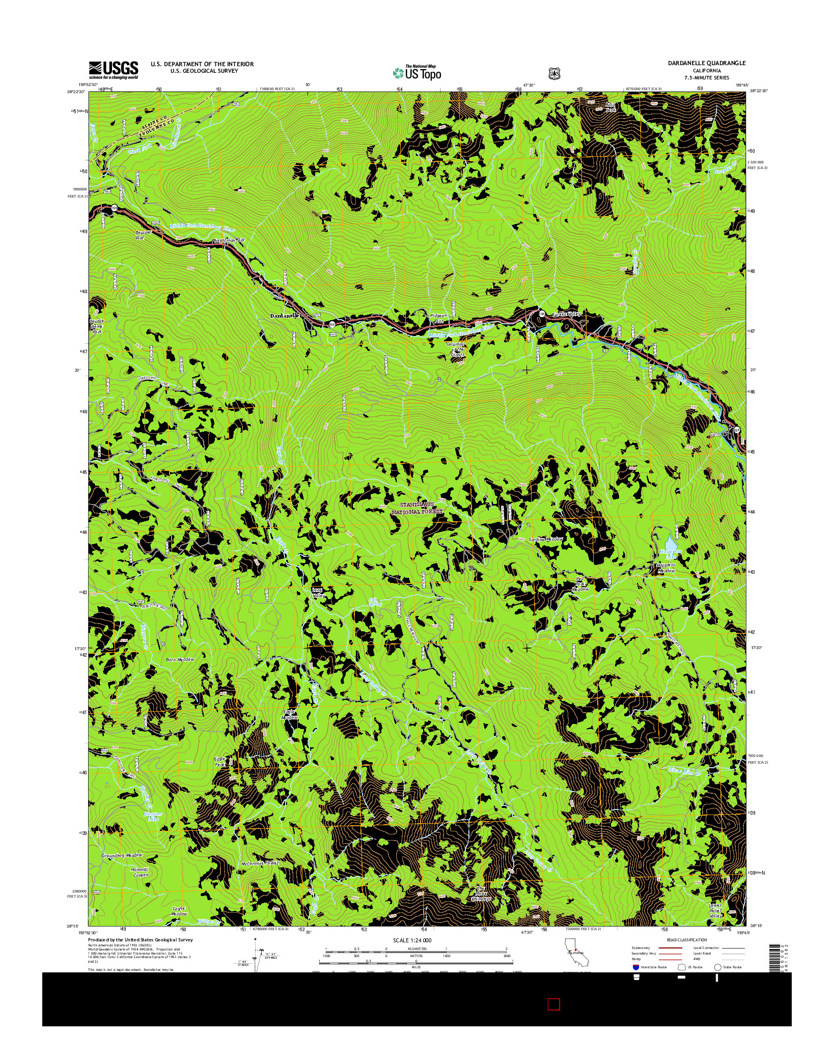 USGS US TOPO 7.5-MINUTE MAP FOR DARDANELLE, CA 2015