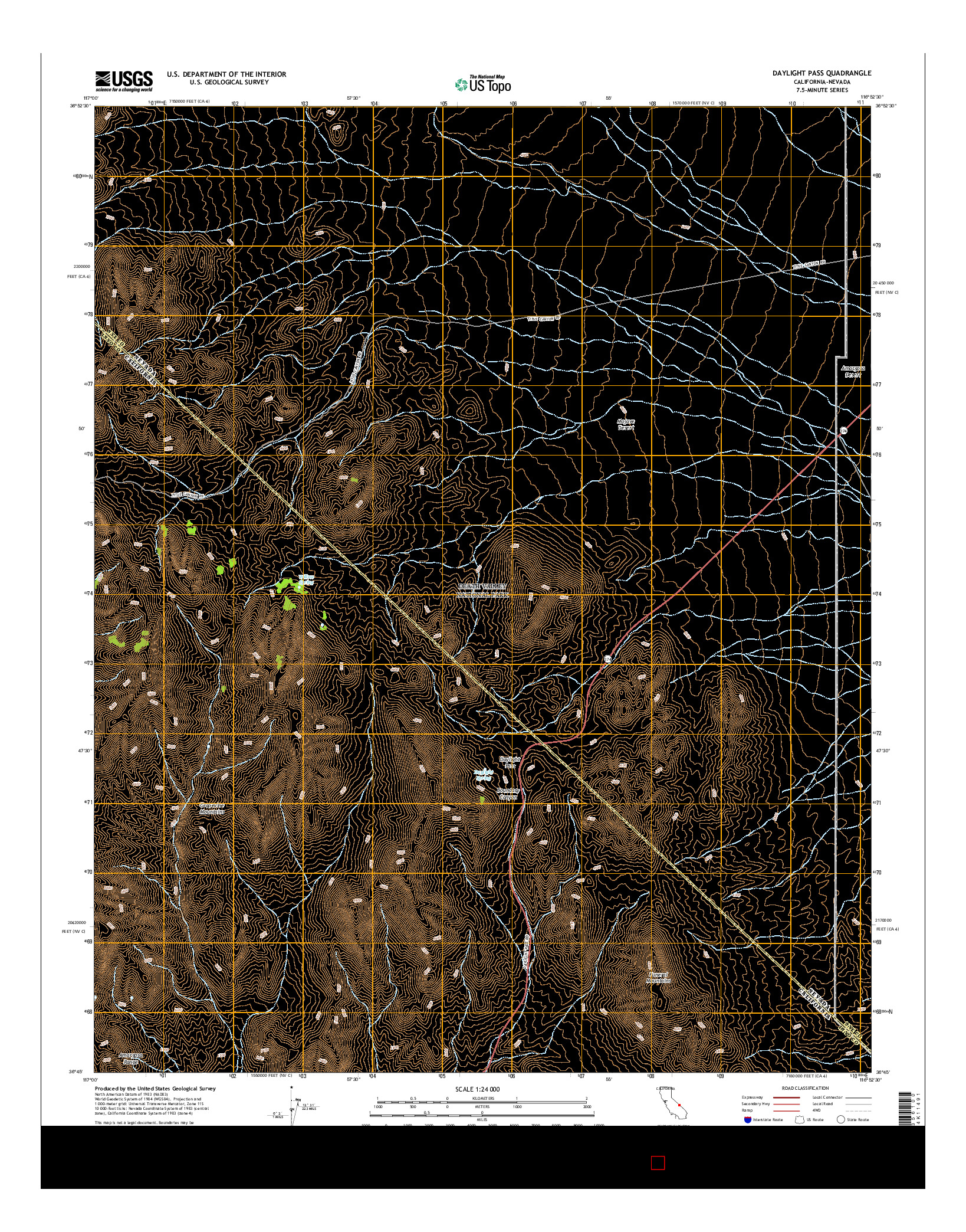 USGS US TOPO 7.5-MINUTE MAP FOR DAYLIGHT PASS, CA-NV 2015