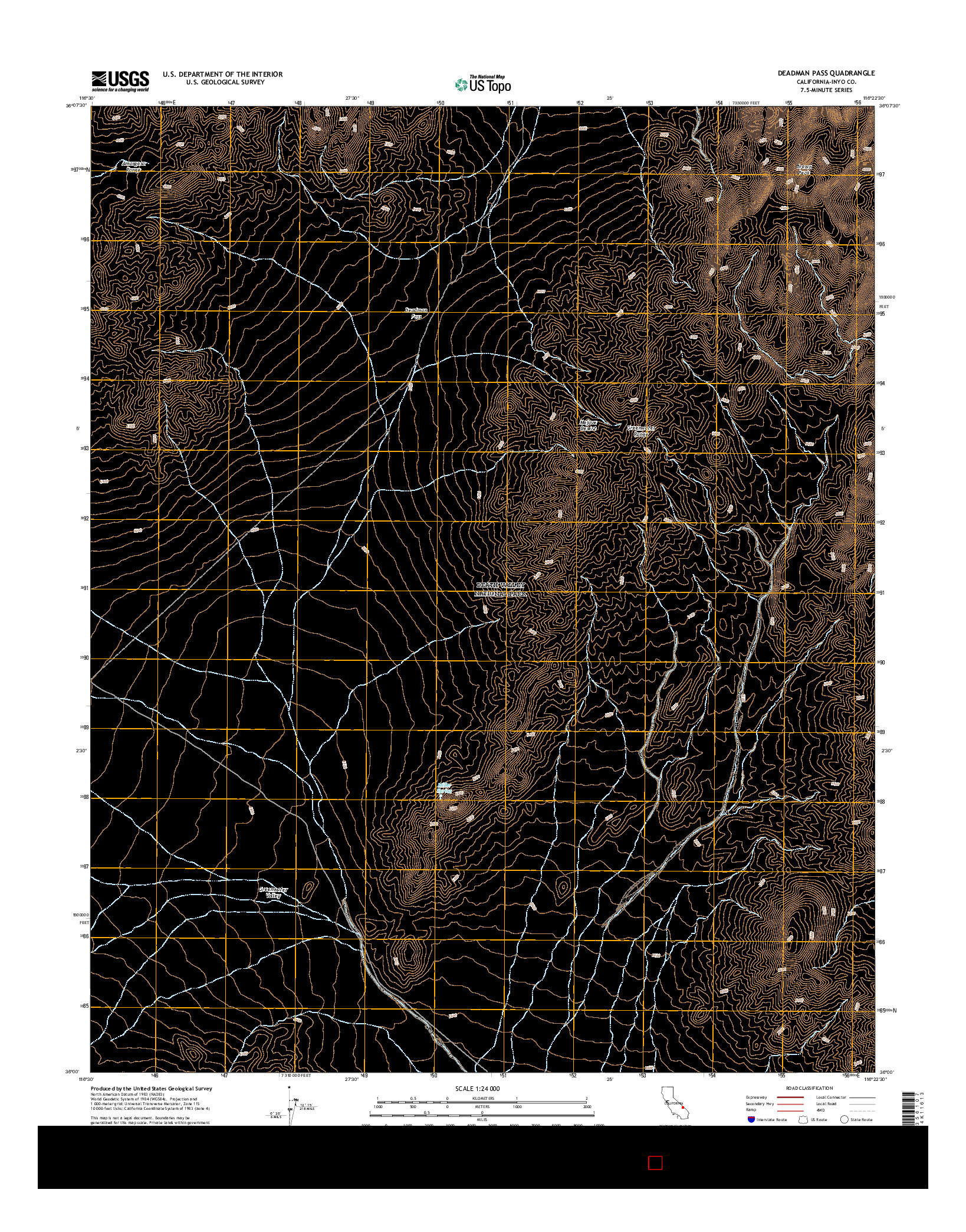 USGS US TOPO 7.5-MINUTE MAP FOR DEADMAN PASS, CA 2015