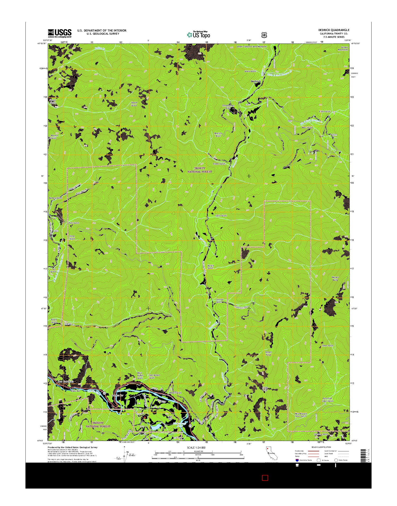 USGS US TOPO 7.5-MINUTE MAP FOR DEDRICK, CA 2015