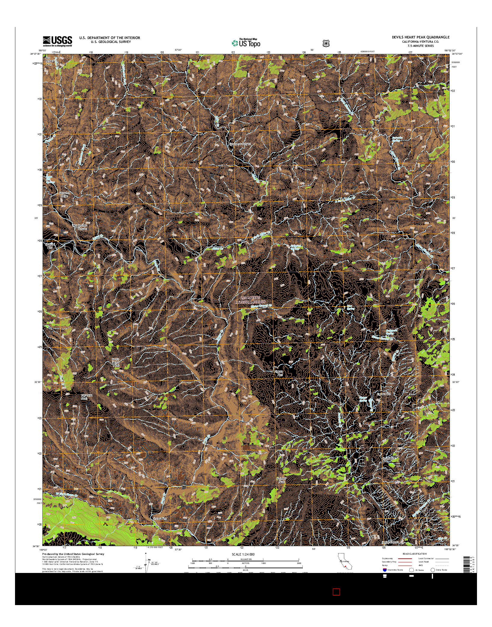 USGS US TOPO 7.5-MINUTE MAP FOR DEVILS HEART PEAK, CA 2015