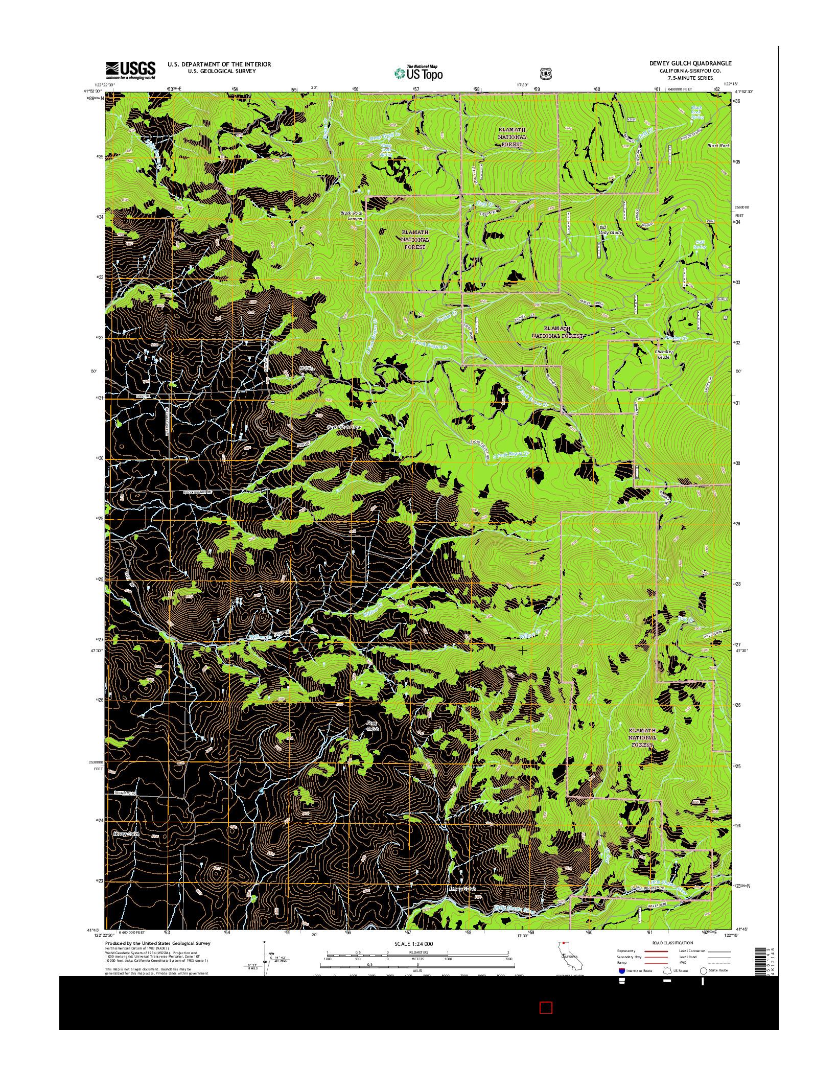 USGS US TOPO 7.5-MINUTE MAP FOR DEWEY GULCH, CA 2015