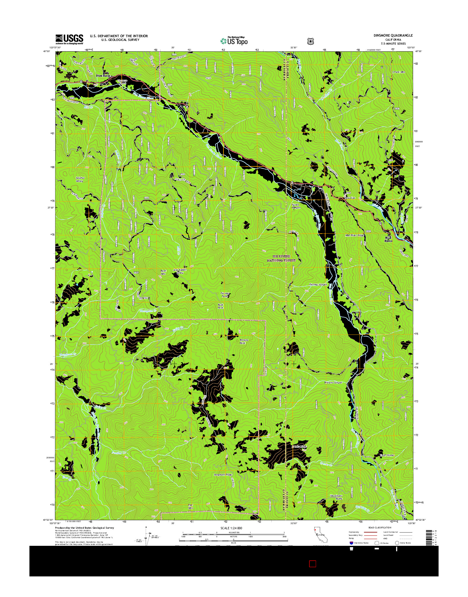 USGS US TOPO 7.5-MINUTE MAP FOR DINSMORE, CA 2015