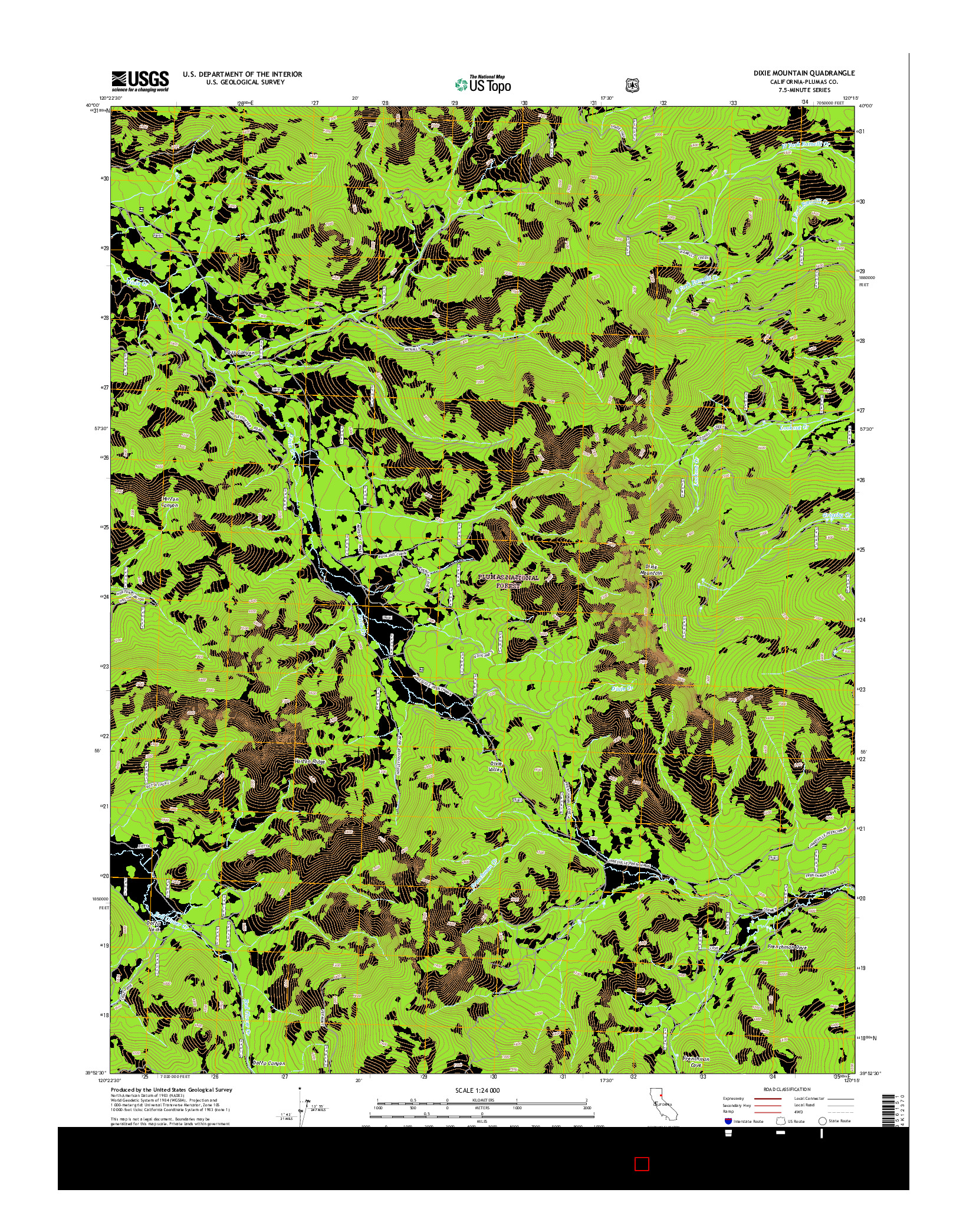 USGS US TOPO 7.5-MINUTE MAP FOR DIXIE MOUNTAIN, CA 2015