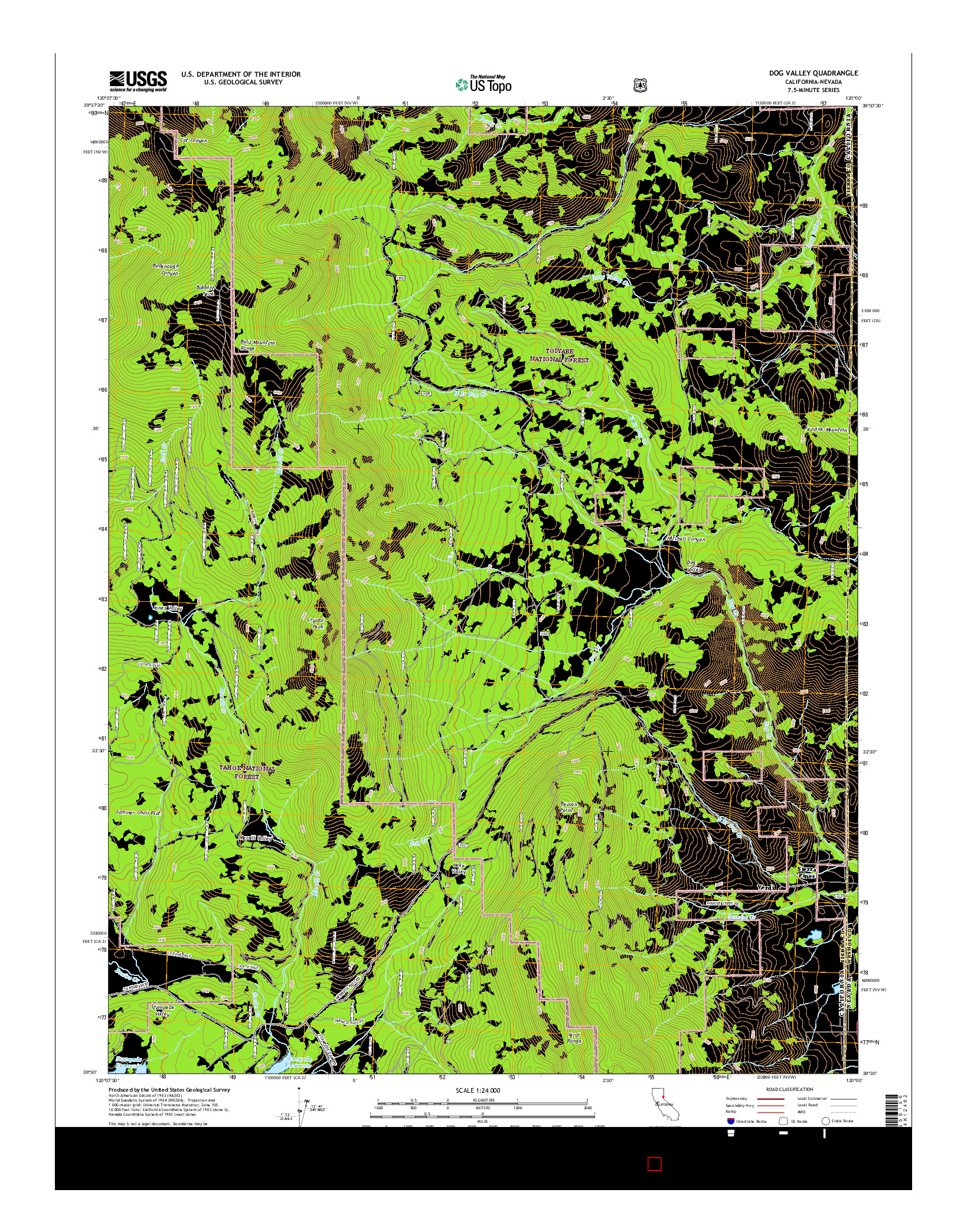 USGS US TOPO 7.5-MINUTE MAP FOR DOG VALLEY, CA-NV 2015