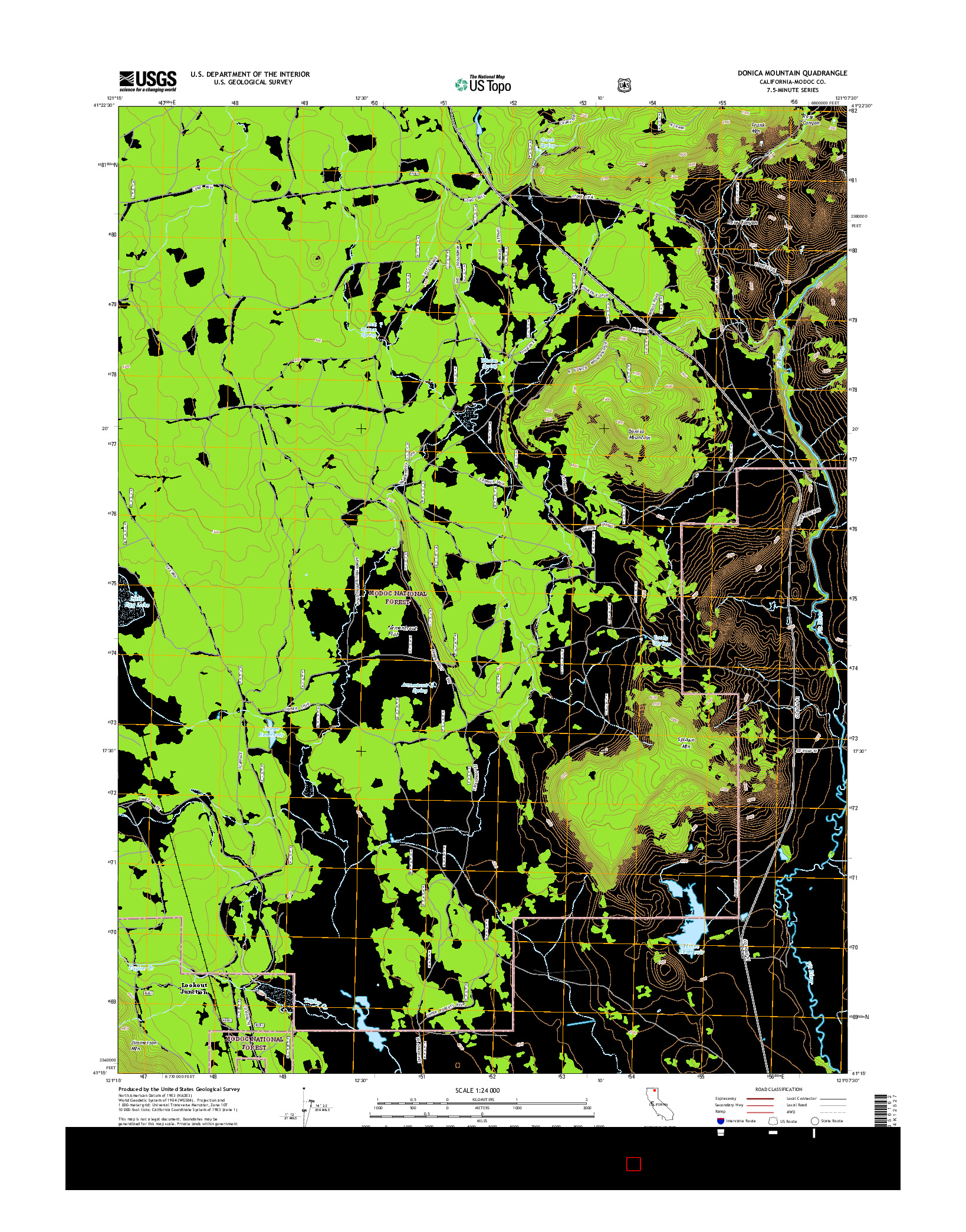 USGS US TOPO 7.5-MINUTE MAP FOR DONICA MOUNTAIN, CA 2015