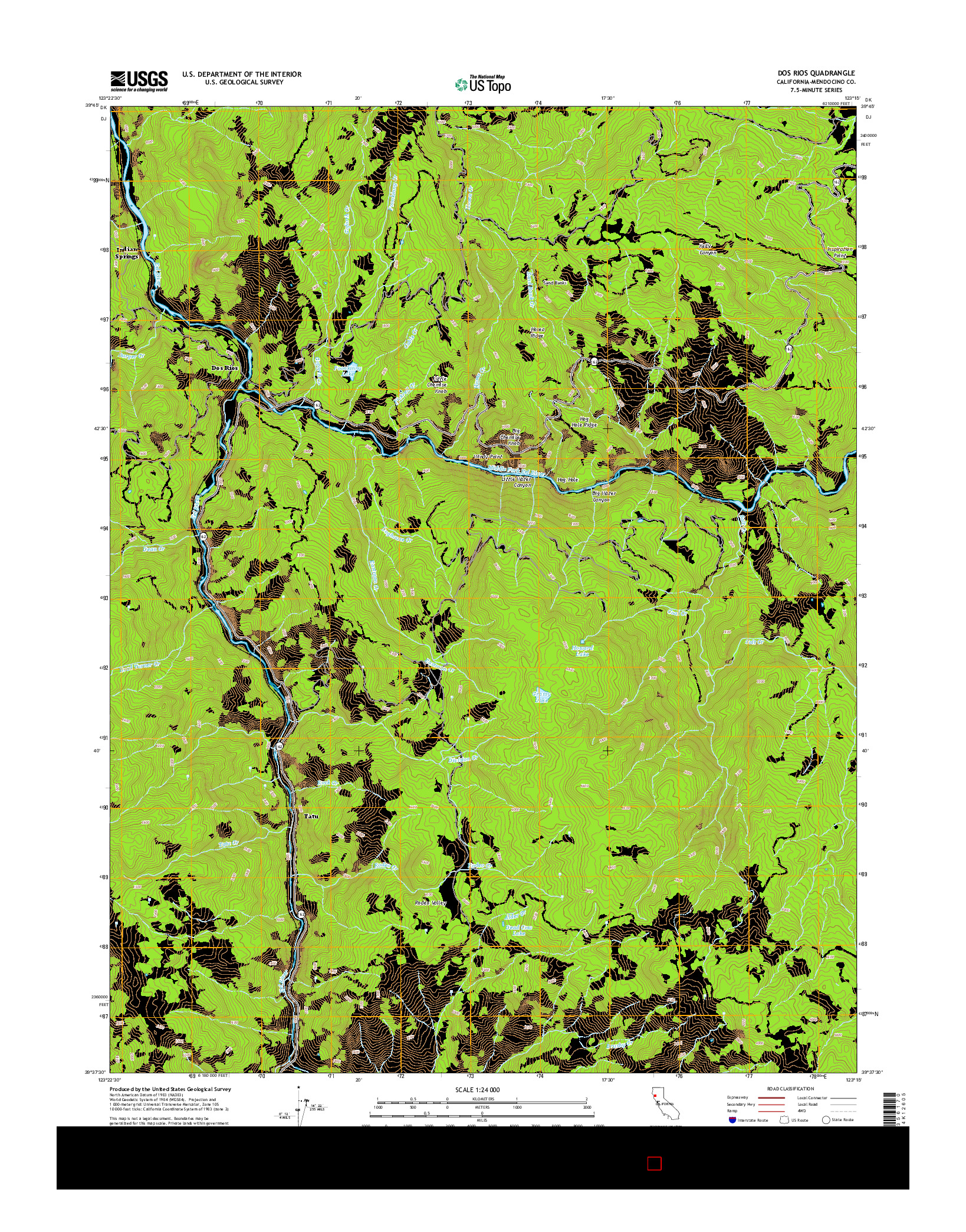 USGS US TOPO 7.5-MINUTE MAP FOR DOS RIOS, CA 2015