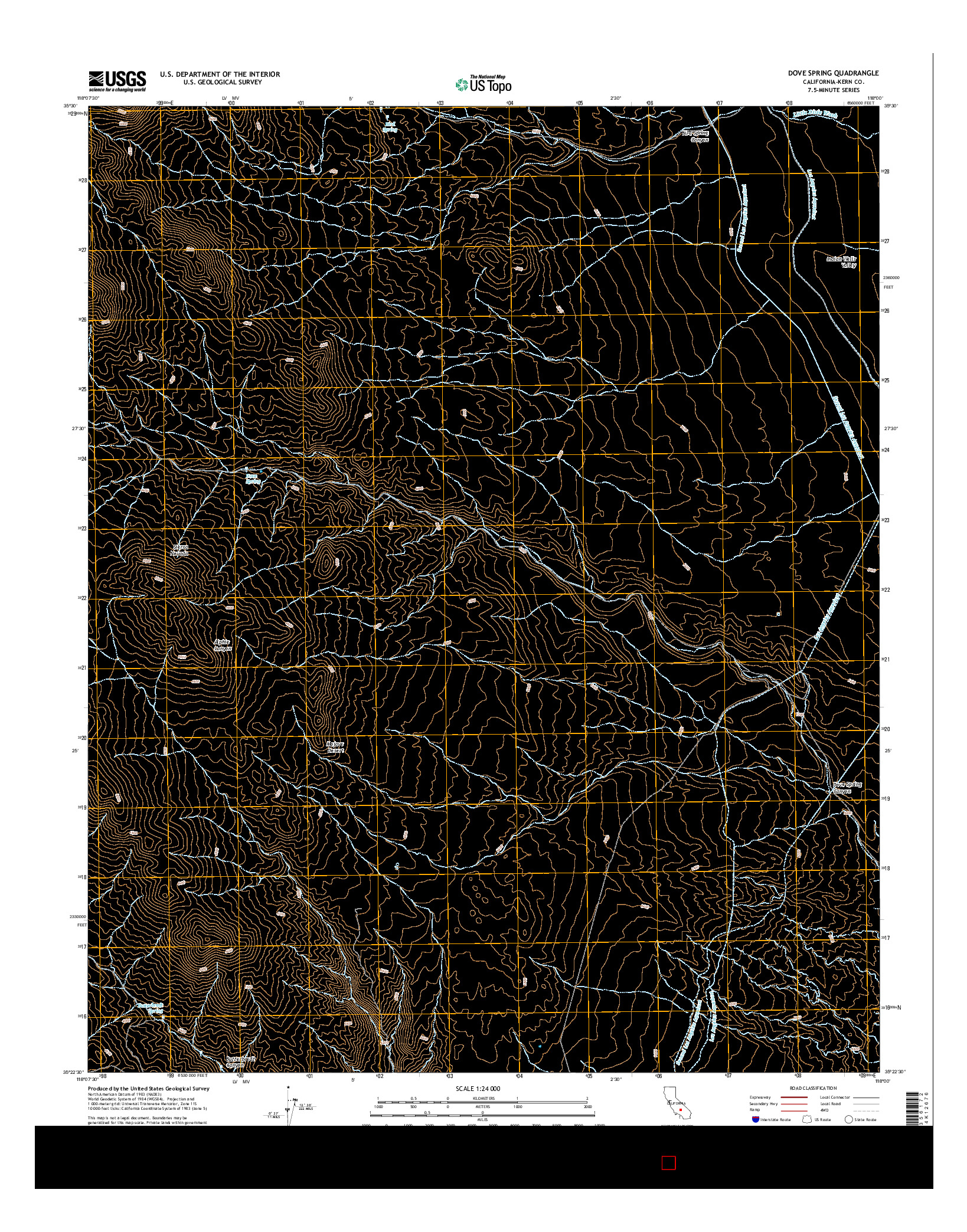 USGS US TOPO 7.5-MINUTE MAP FOR DOVE SPRING, CA 2015