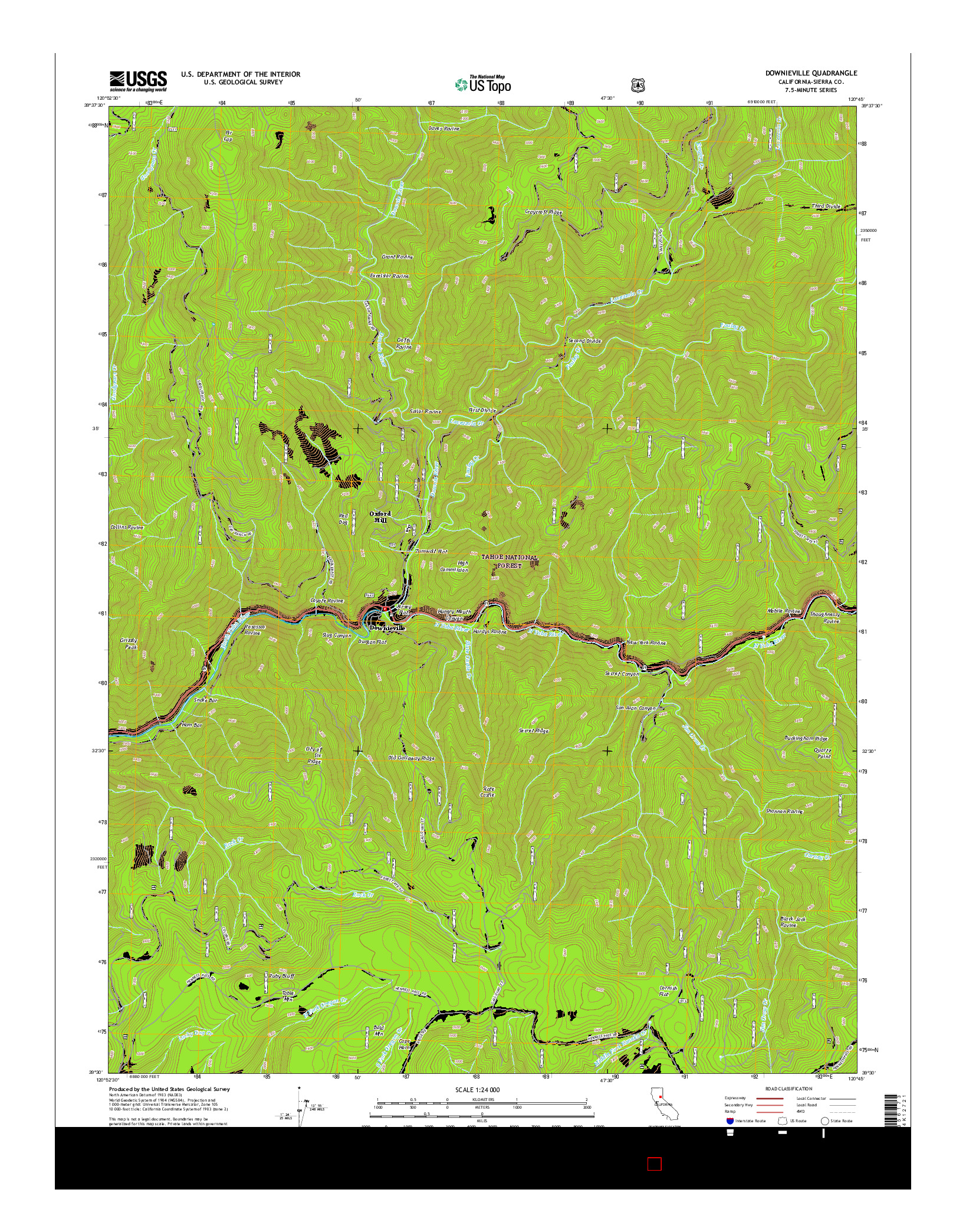 USGS US TOPO 7.5-MINUTE MAP FOR DOWNIEVILLE, CA 2015