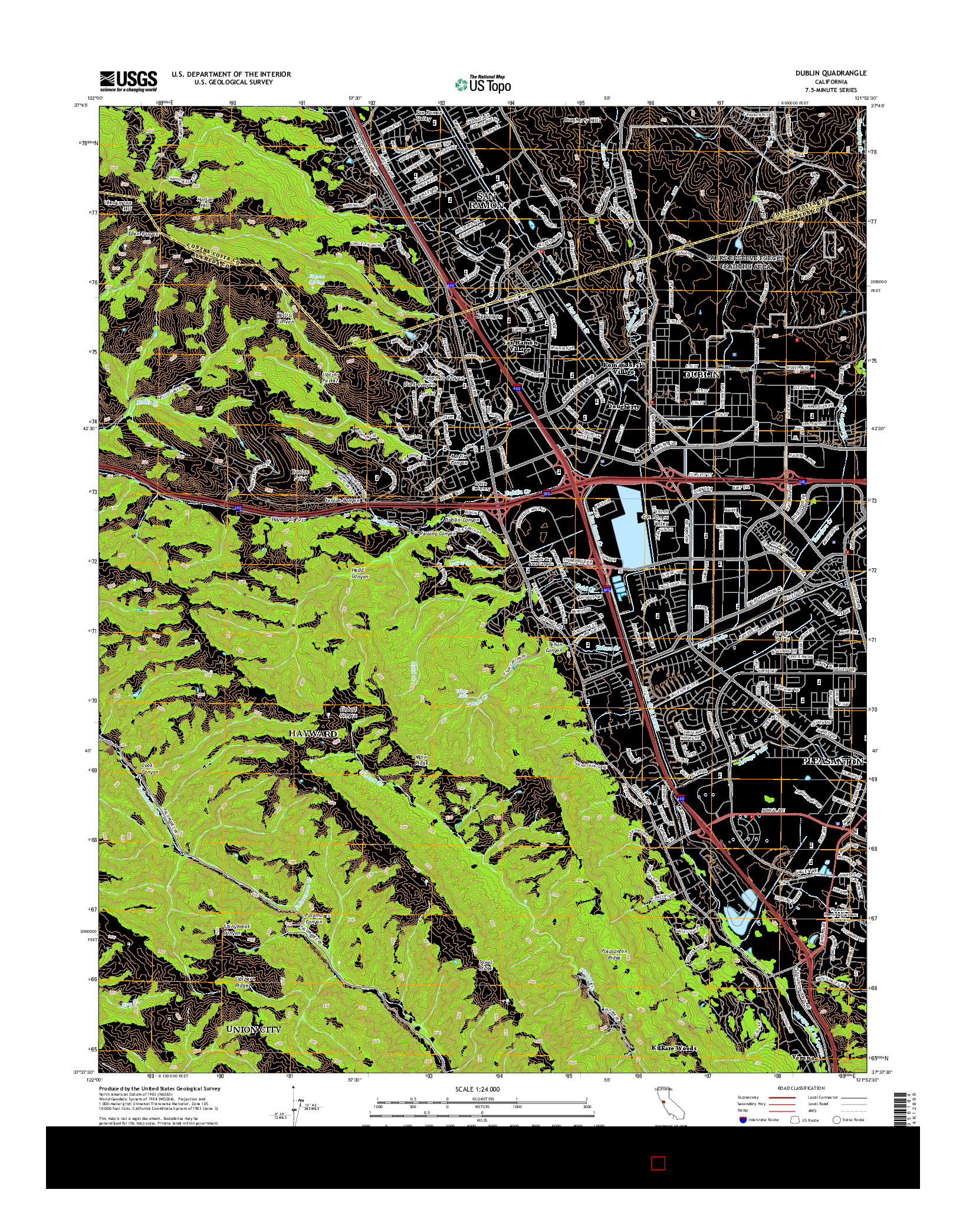 USGS US TOPO 7.5-MINUTE MAP FOR DUBLIN, CA 2015