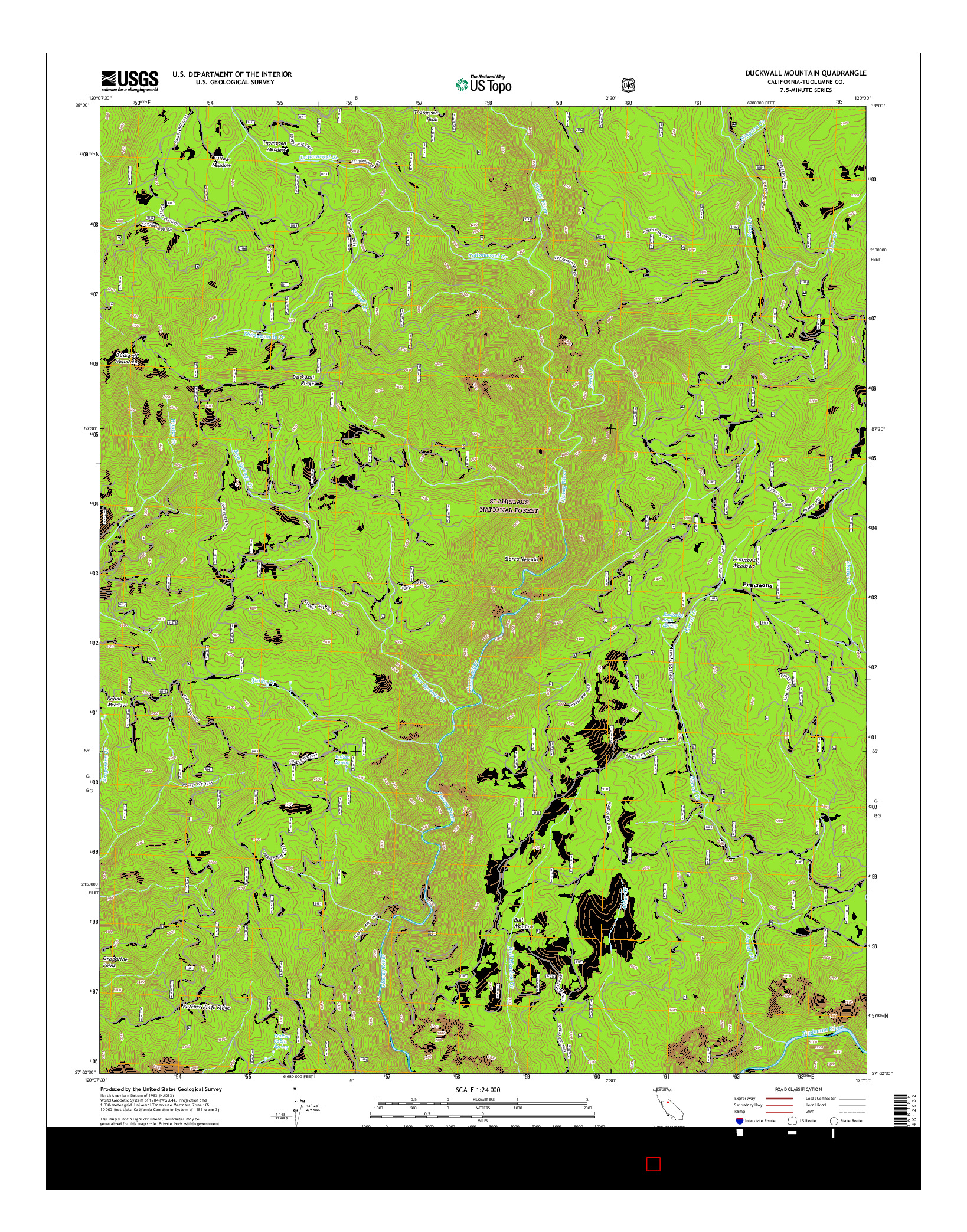 USGS US TOPO 7.5-MINUTE MAP FOR DUCKWALL MOUNTAIN, CA 2015