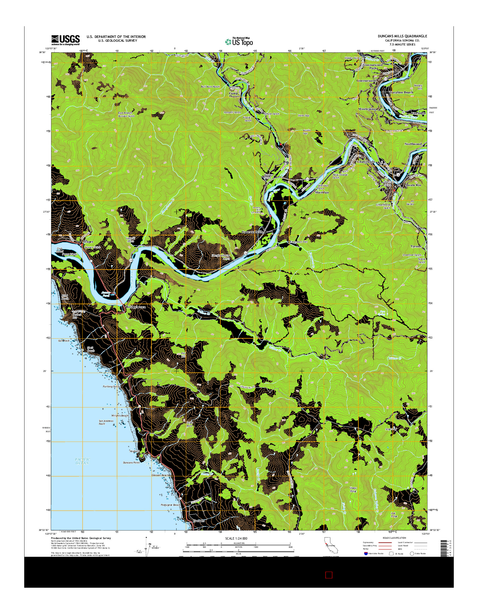 USGS US TOPO 7.5-MINUTE MAP FOR DUNCANS MILLS, CA 2015
