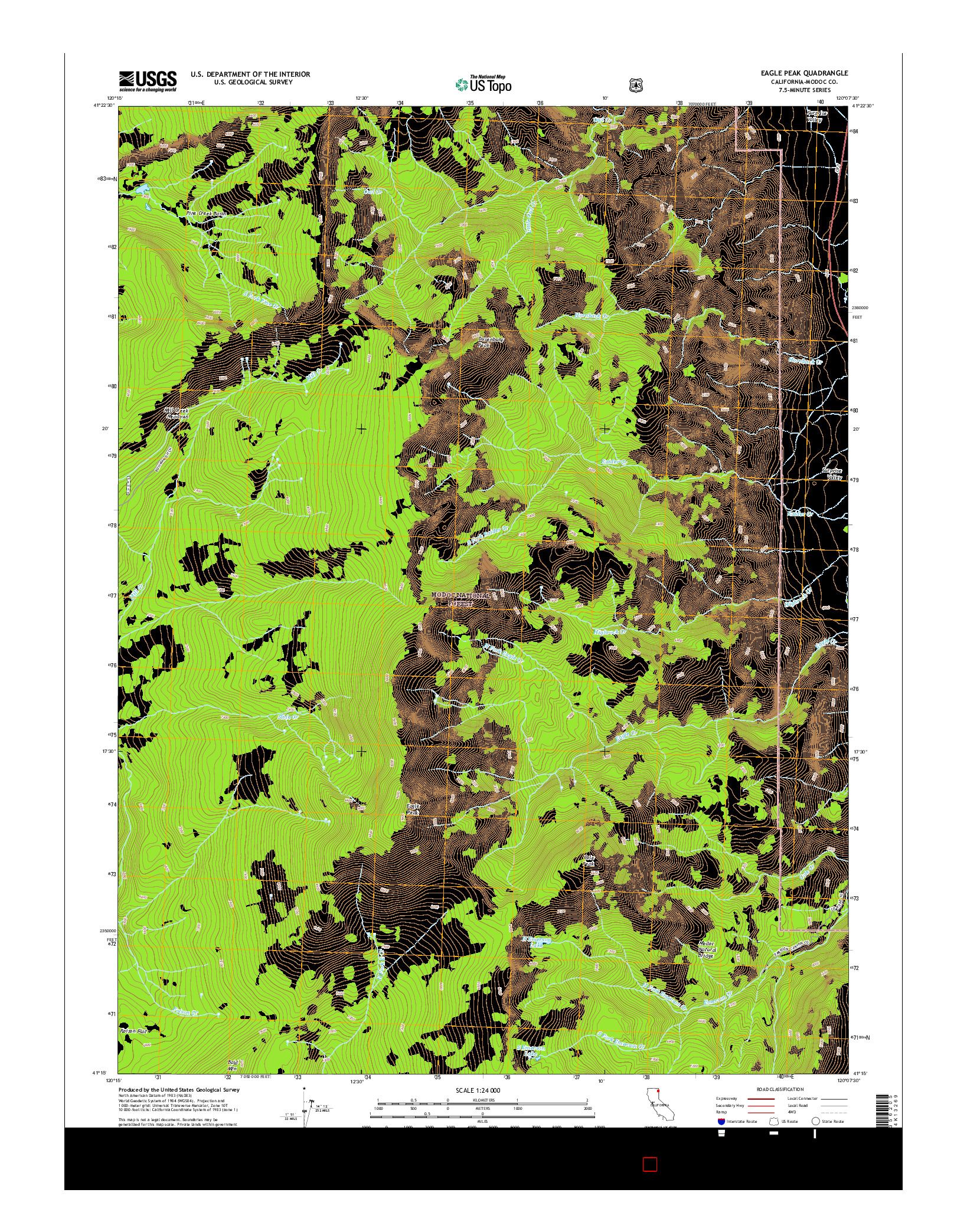 USGS US TOPO 7.5-MINUTE MAP FOR EAGLE PEAK, CA 2015