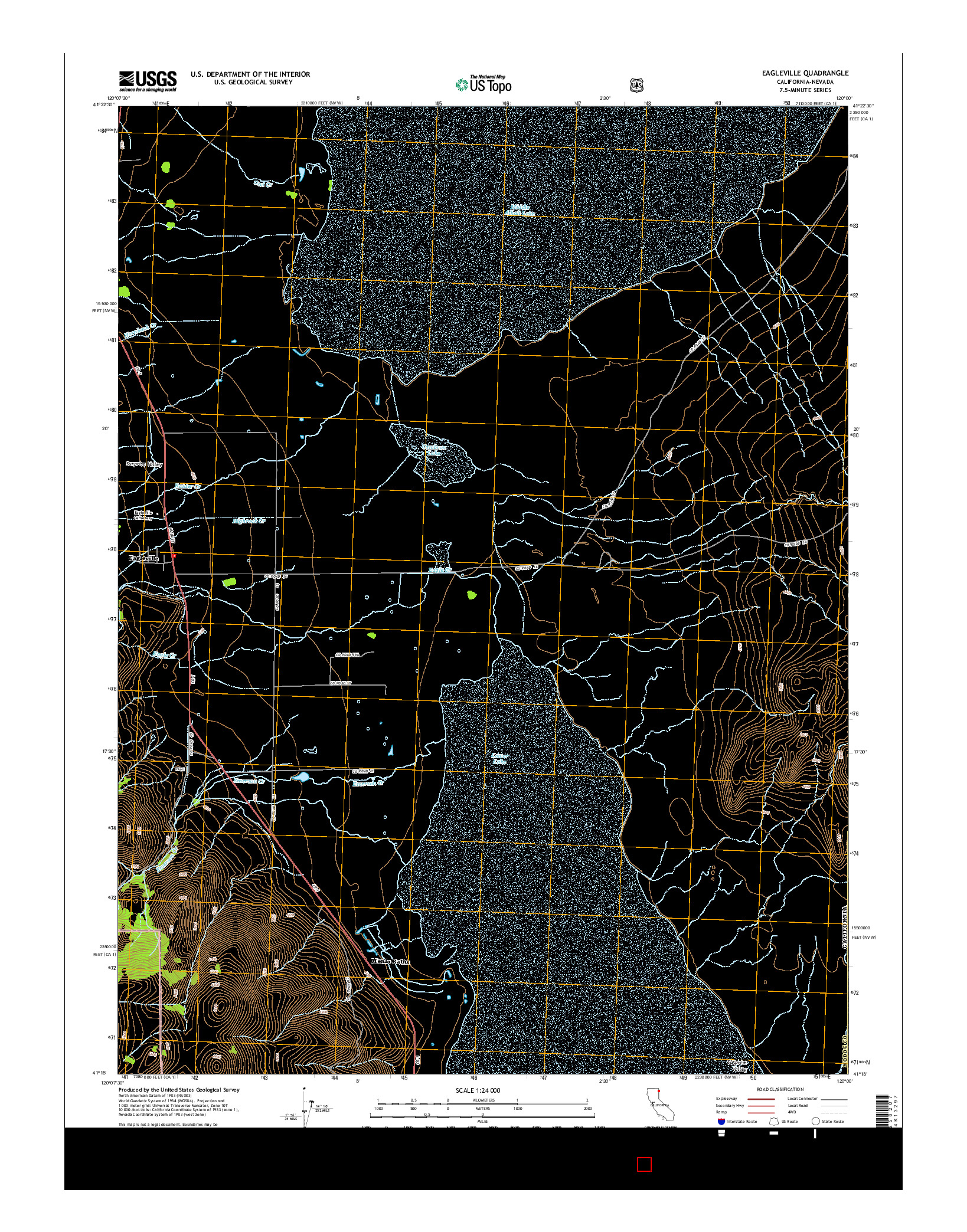 USGS US TOPO 7.5-MINUTE MAP FOR EAGLEVILLE, CA-NV 2015
