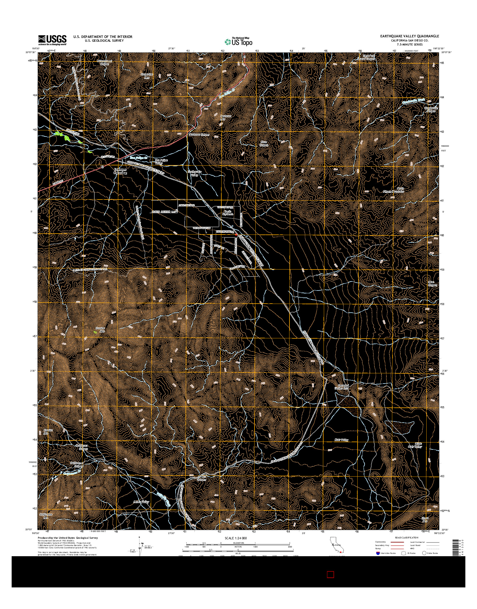 USGS US TOPO 7.5-MINUTE MAP FOR EARTHQUAKE VALLEY, CA 2015