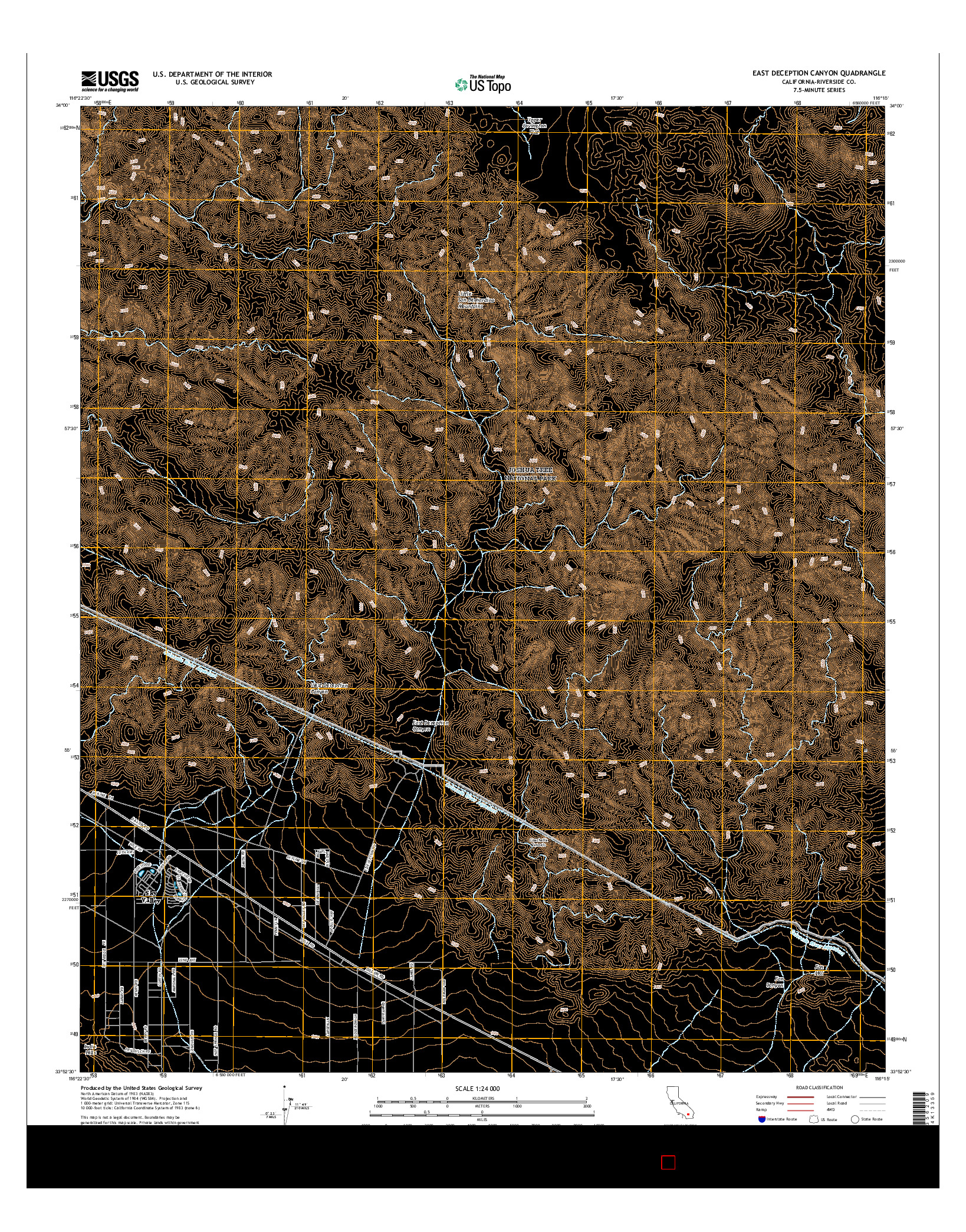 USGS US TOPO 7.5-MINUTE MAP FOR EAST DECEPTION CANYON, CA 2015