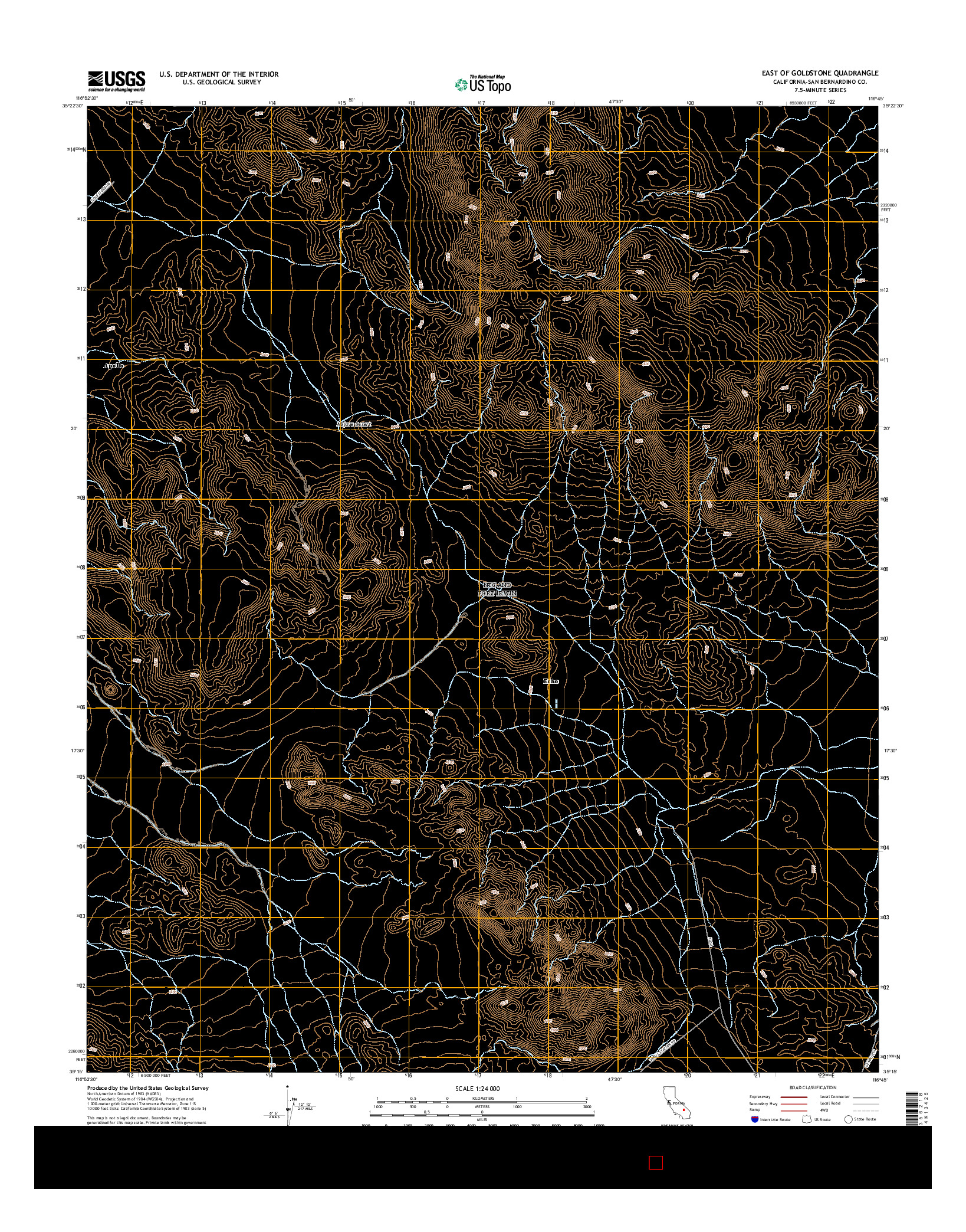 USGS US TOPO 7.5-MINUTE MAP FOR EAST OF GOLDSTONE, CA 2015