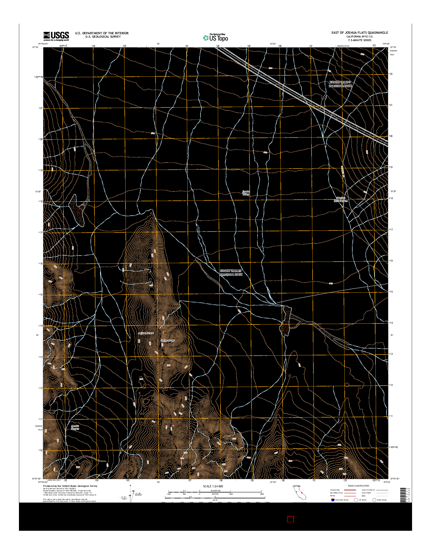 USGS US TOPO 7.5-MINUTE MAP FOR EAST OF JOSHUA FLATS, CA 2015