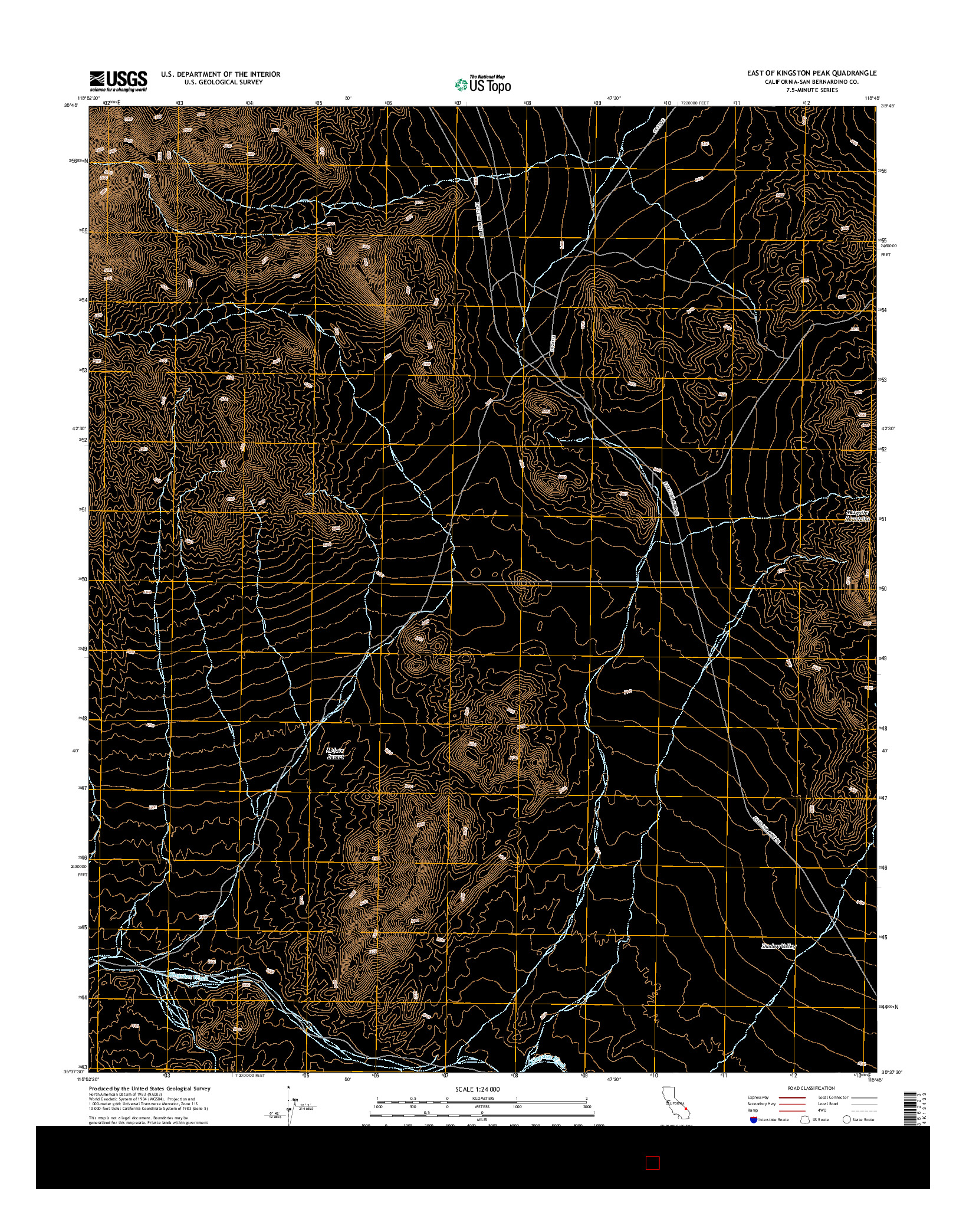 USGS US TOPO 7.5-MINUTE MAP FOR EAST OF KINGSTON PEAK, CA 2015