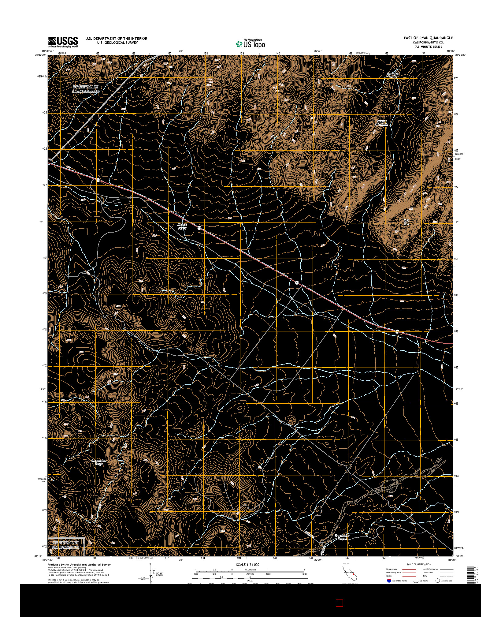 USGS US TOPO 7.5-MINUTE MAP FOR EAST OF RYAN, CA 2015