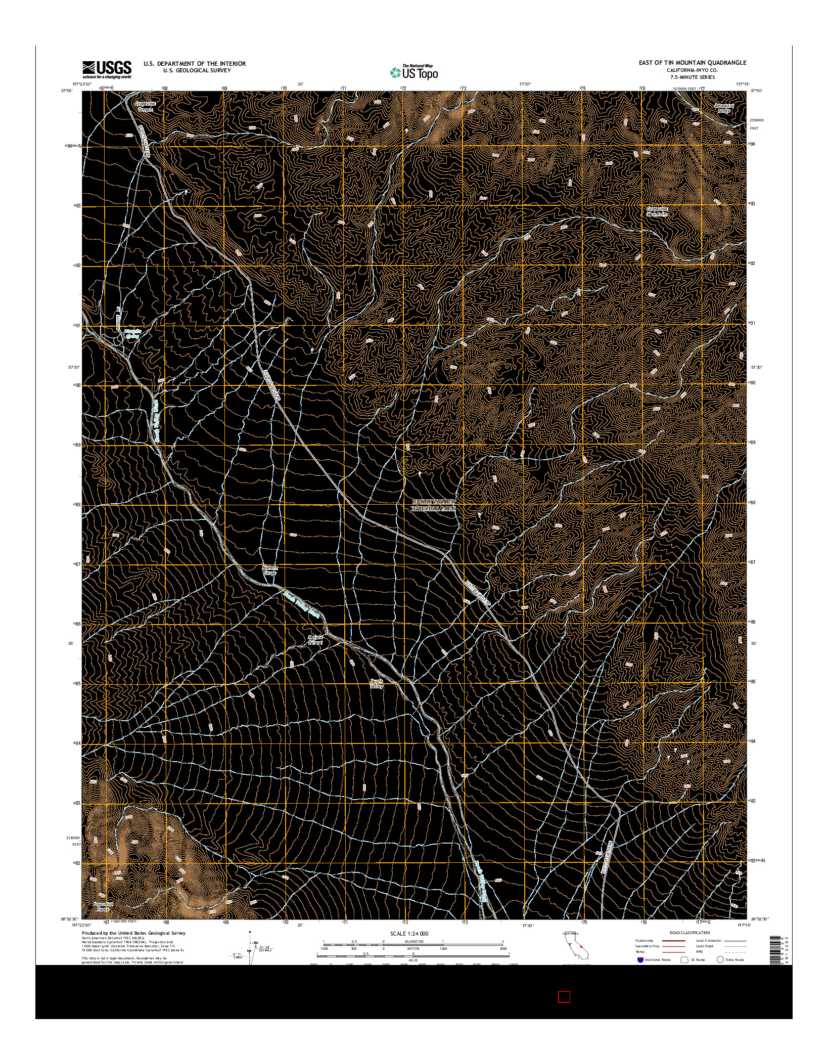 USGS US TOPO 7.5-MINUTE MAP FOR EAST OF TIN MOUNTAIN, CA 2015