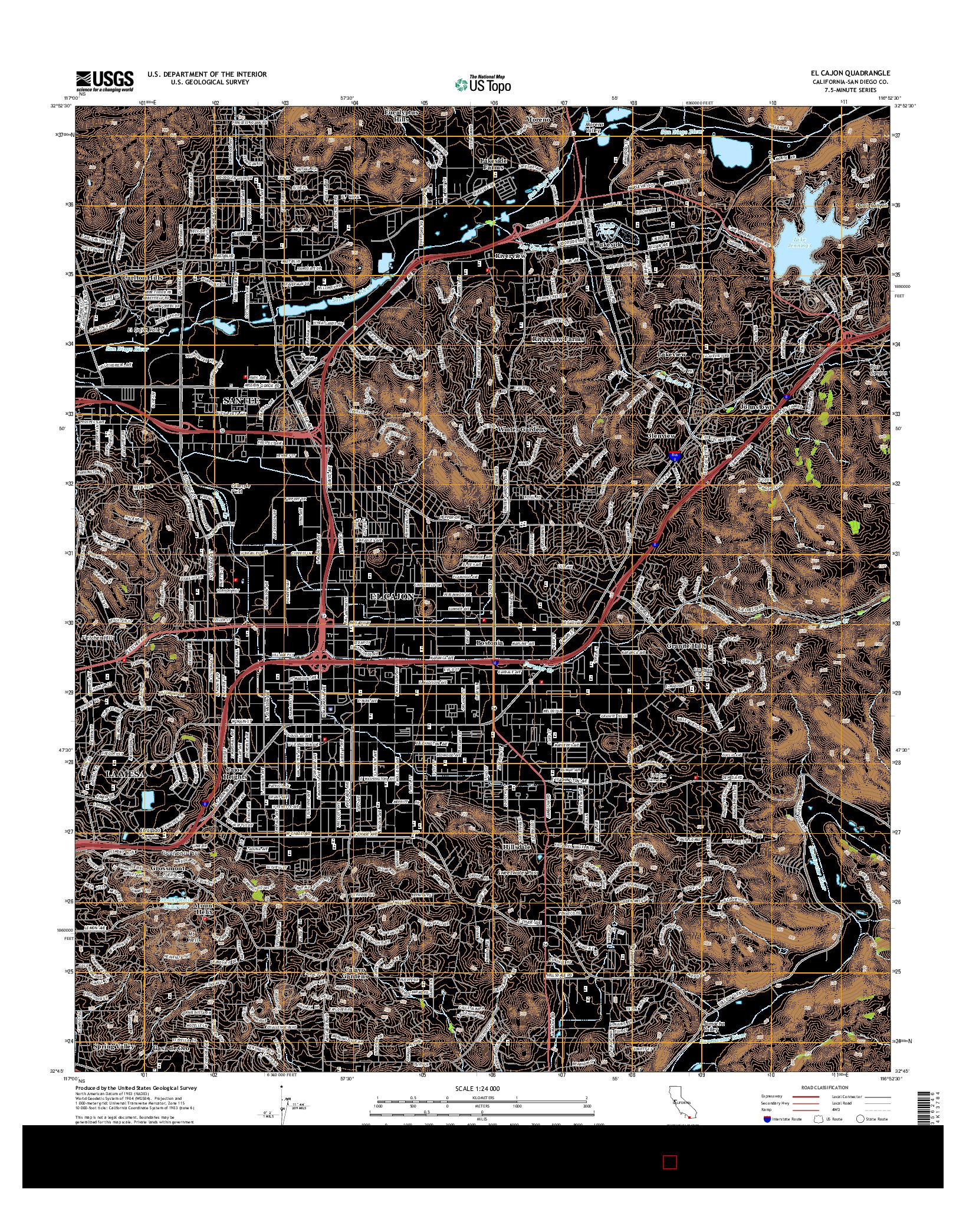 USGS US TOPO 7.5-MINUTE MAP FOR EL CAJON, CA 2015
