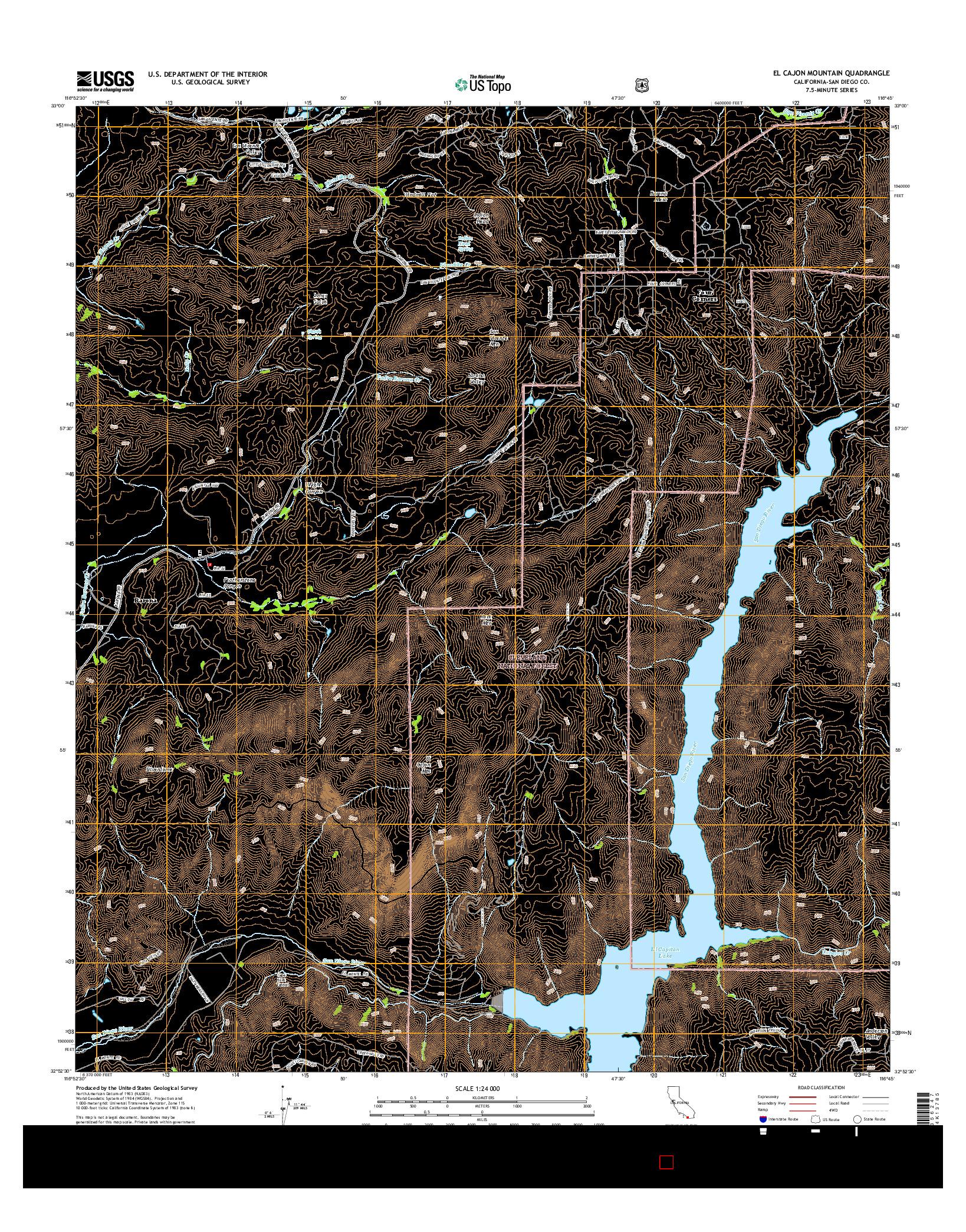 USGS US TOPO 7.5-MINUTE MAP FOR EL CAJON MOUNTAIN, CA 2015