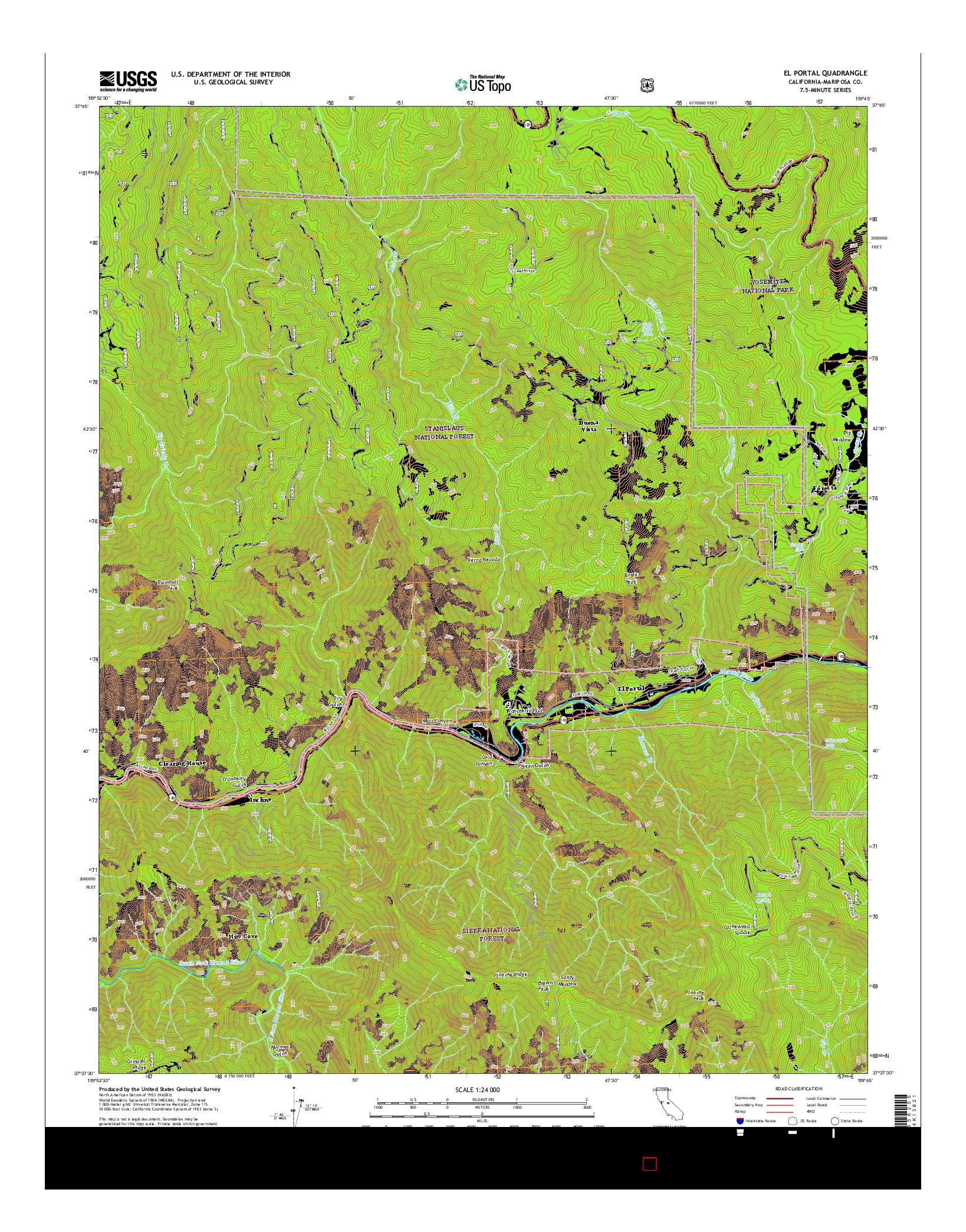 USGS US TOPO 7.5-MINUTE MAP FOR EL PORTAL, CA 2015