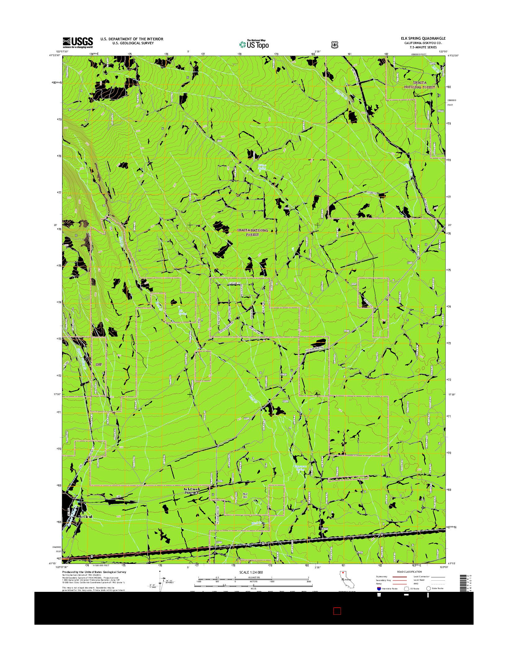 USGS US TOPO 7.5-MINUTE MAP FOR ELK SPRING, CA 2015