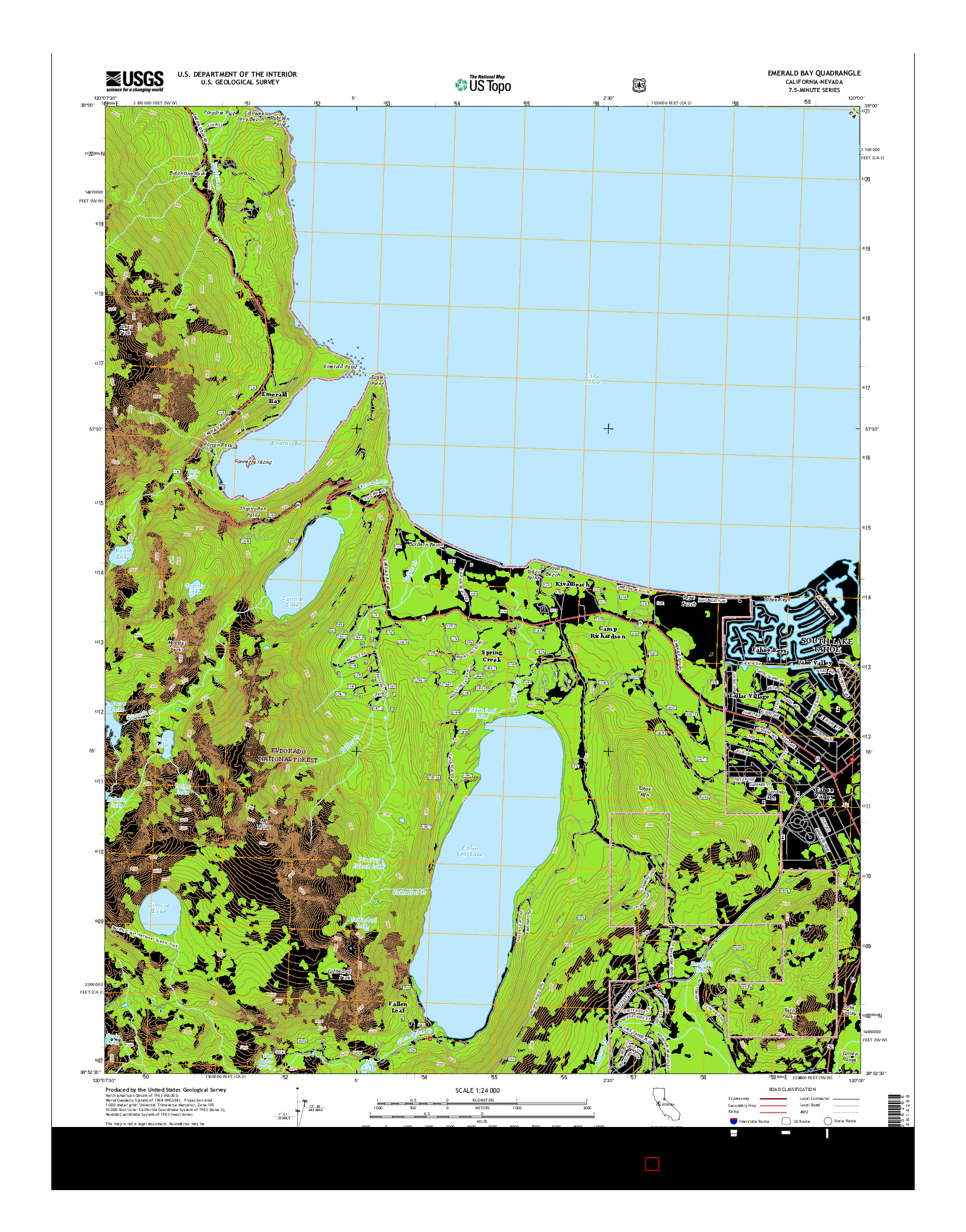 USGS US TOPO 7.5-MINUTE MAP FOR EMERALD BAY, CA-NV 2015
