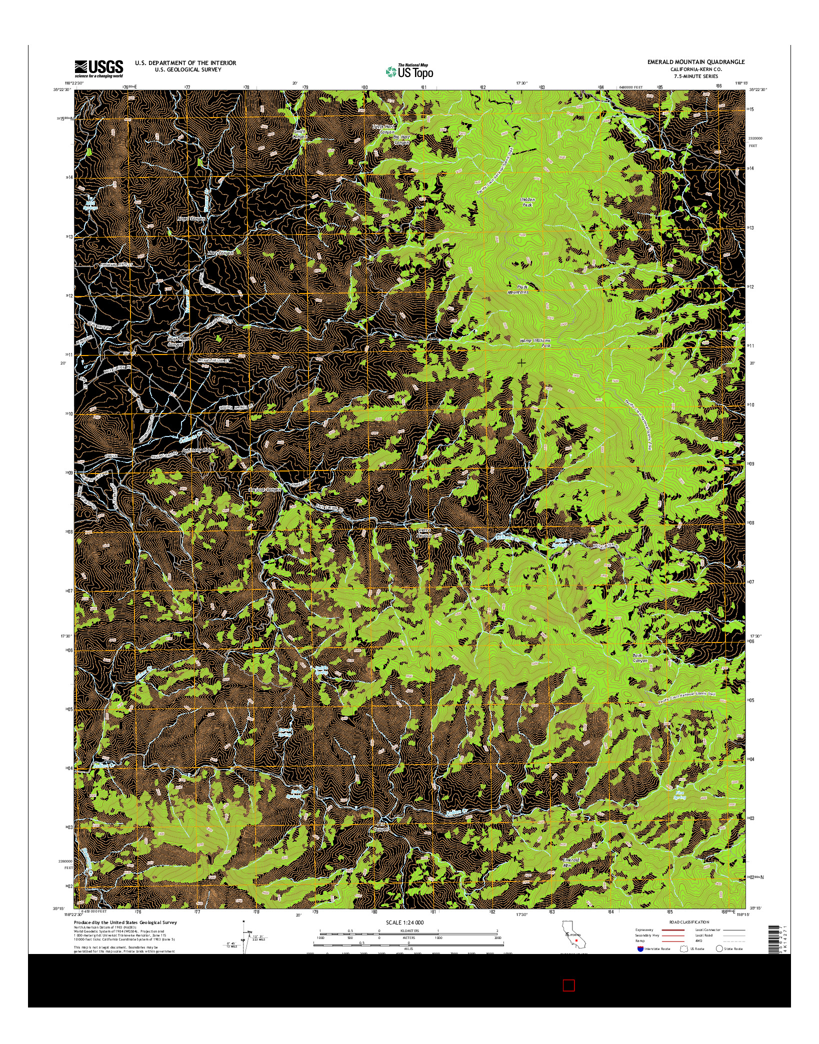 USGS US TOPO 7.5-MINUTE MAP FOR EMERALD MOUNTAIN, CA 2015