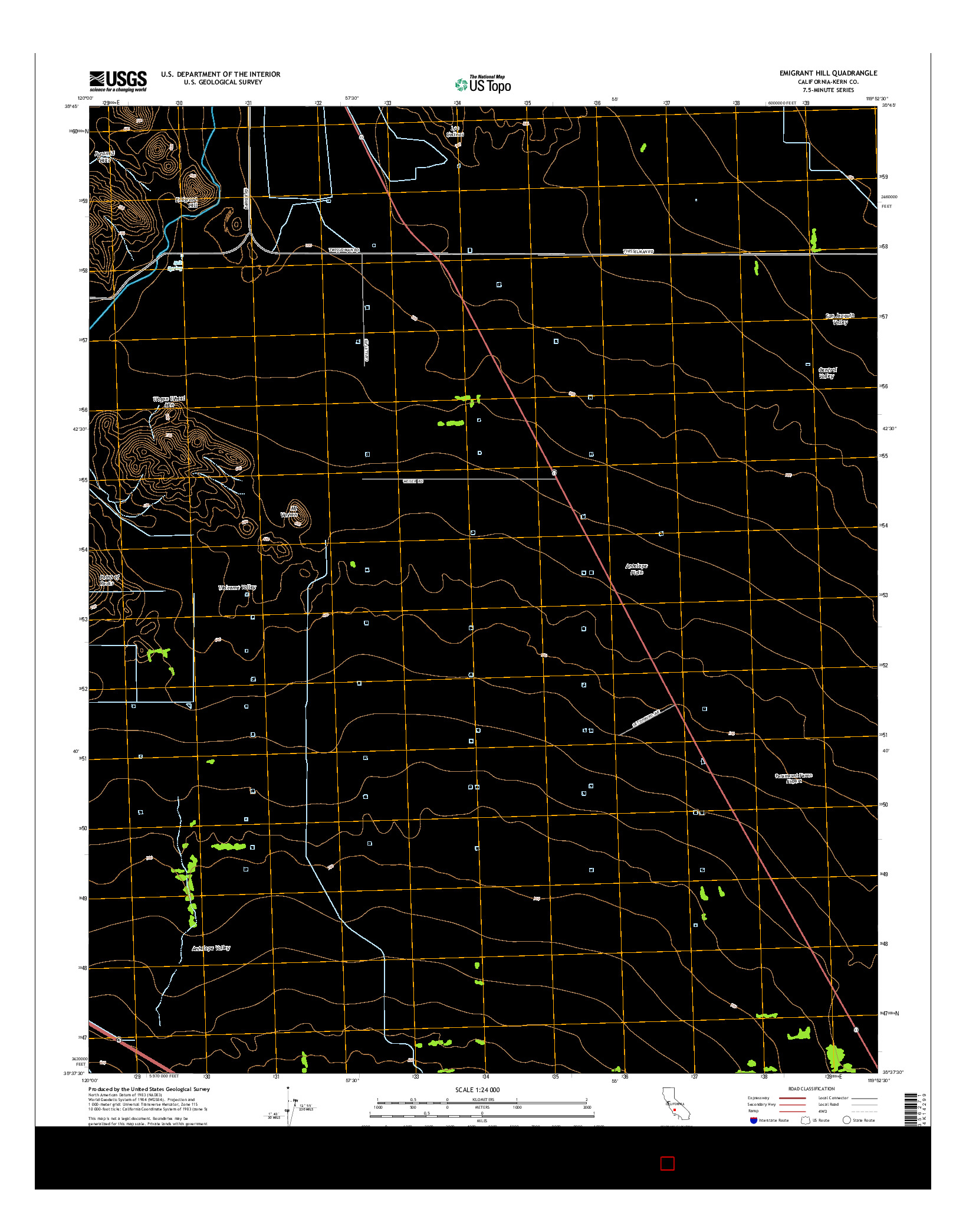 USGS US TOPO 7.5-MINUTE MAP FOR EMIGRANT HILL, CA 2015