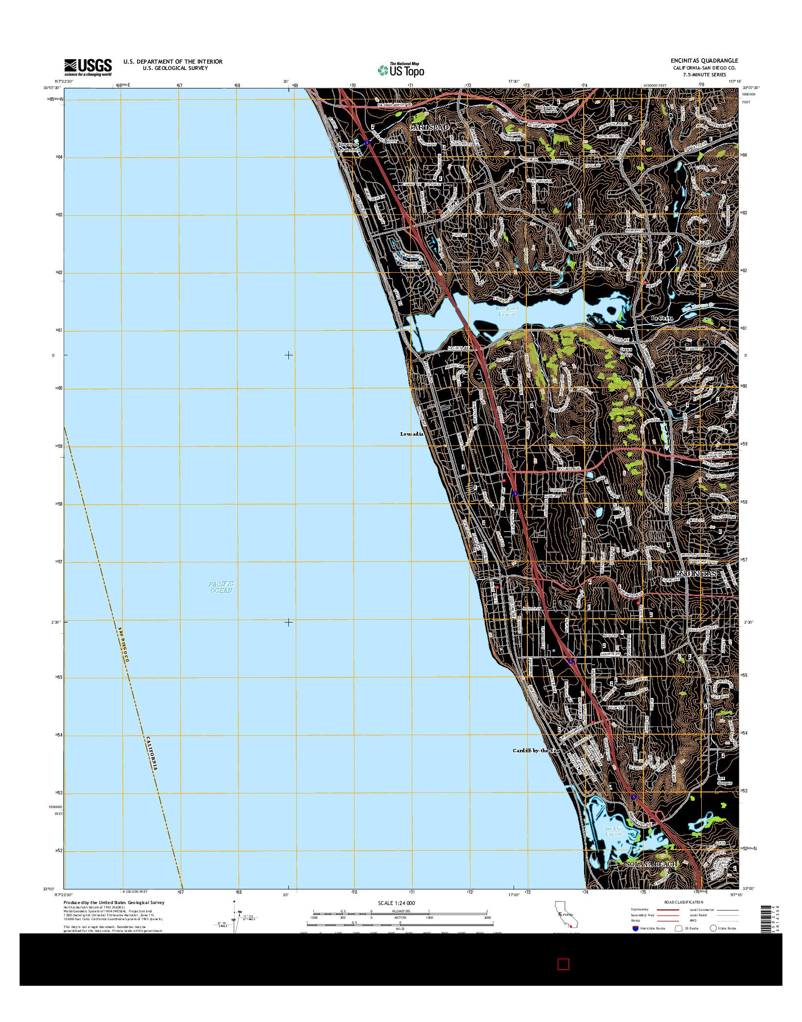 USGS US TOPO 7.5-MINUTE MAP FOR ENCINITAS, CA 2015
