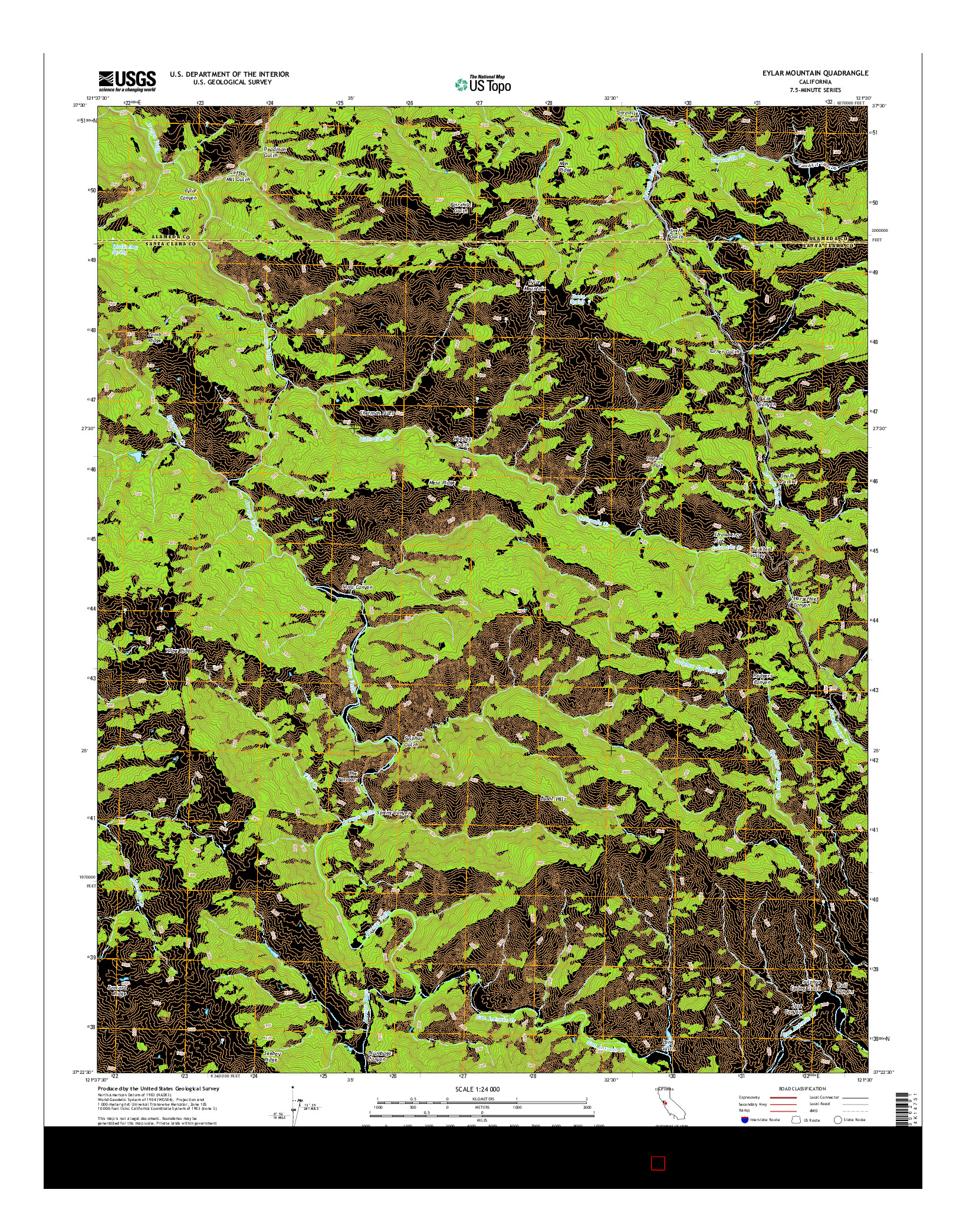 USGS US TOPO 7.5-MINUTE MAP FOR EYLAR MOUNTAIN, CA 2015