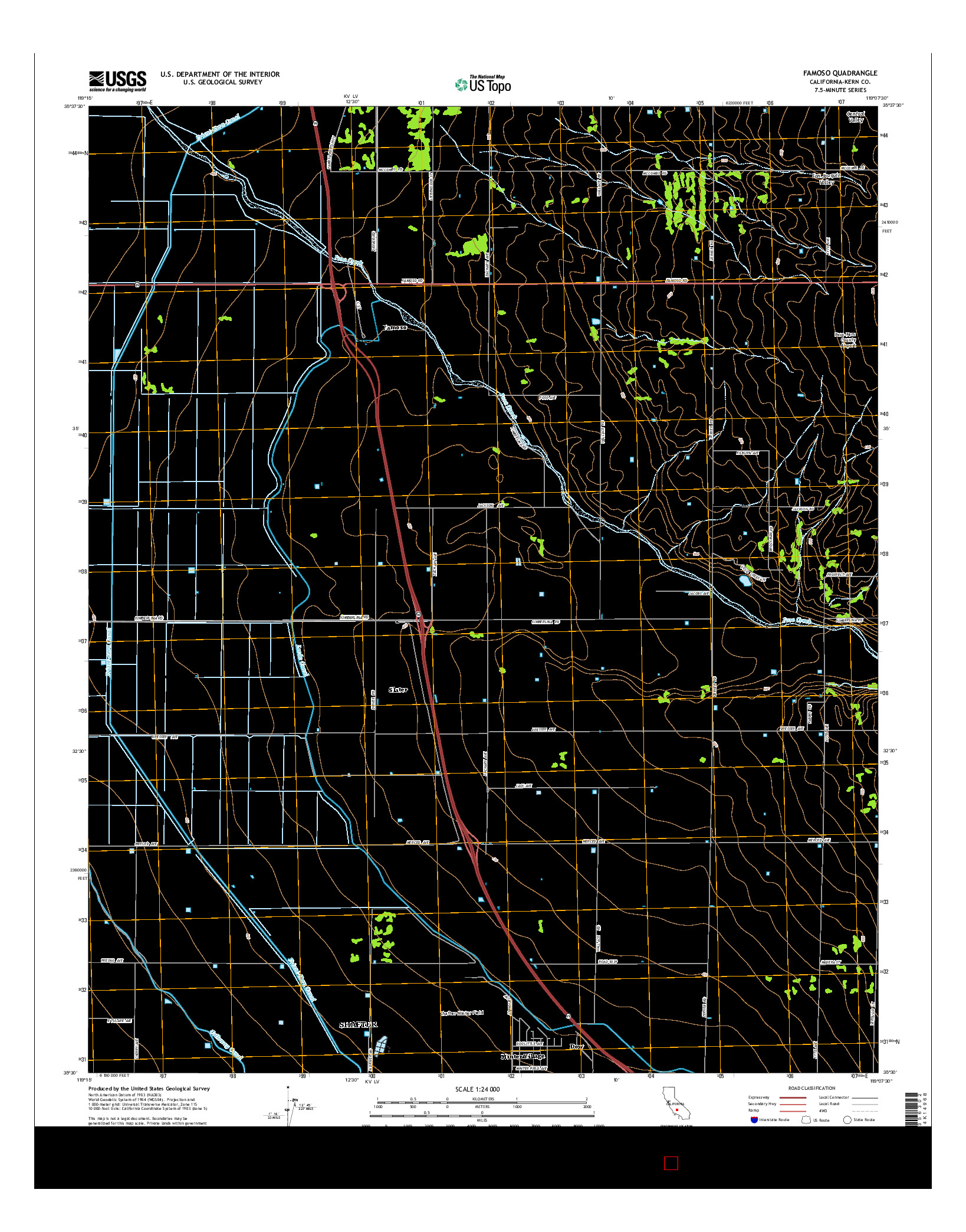 USGS US TOPO 7.5-MINUTE MAP FOR FAMOSO, CA 2015