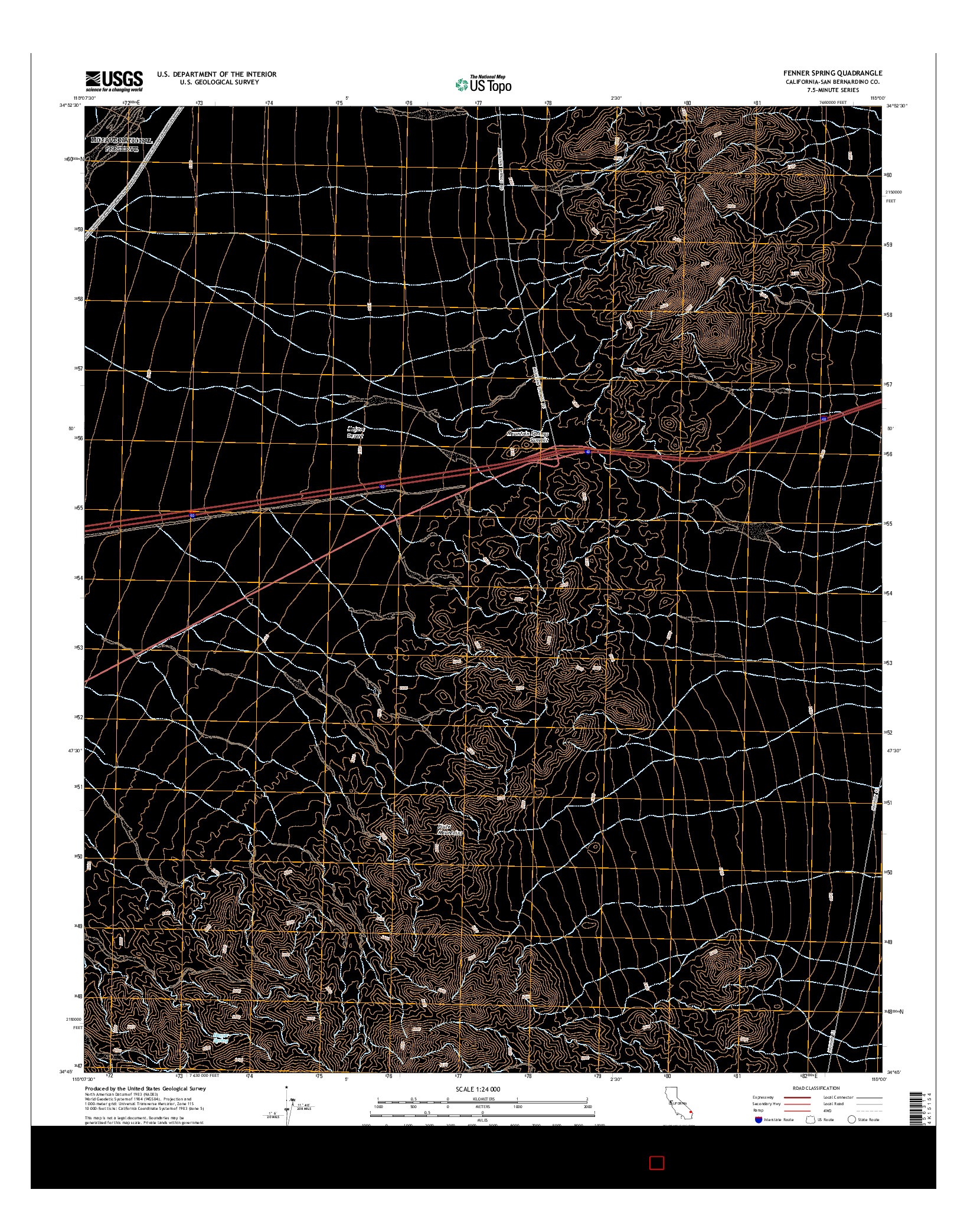 USGS US TOPO 7.5-MINUTE MAP FOR FENNER SPRING, CA 2015