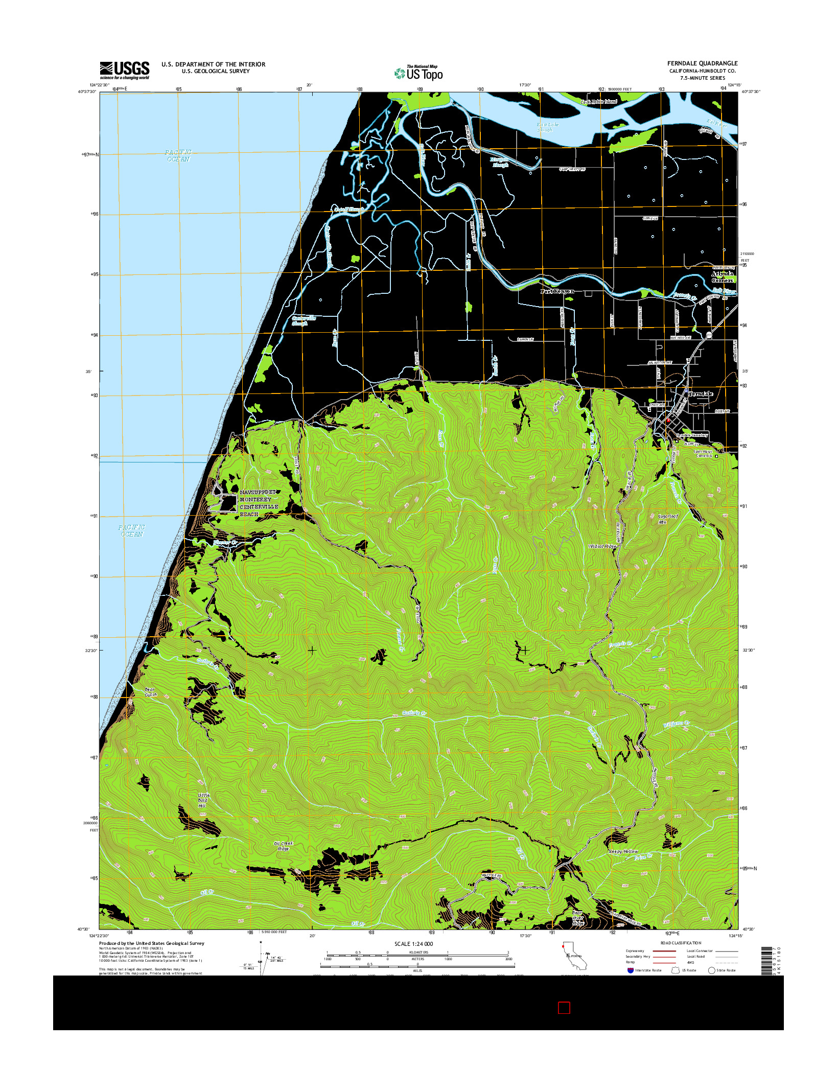 USGS US TOPO 7.5-MINUTE MAP FOR FERNDALE, CA 2015