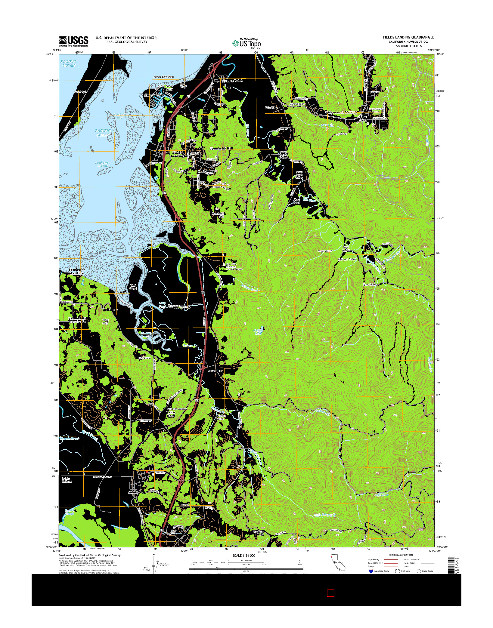 USGS US TOPO 7.5-MINUTE MAP FOR FIELDS LANDING, CA 2015