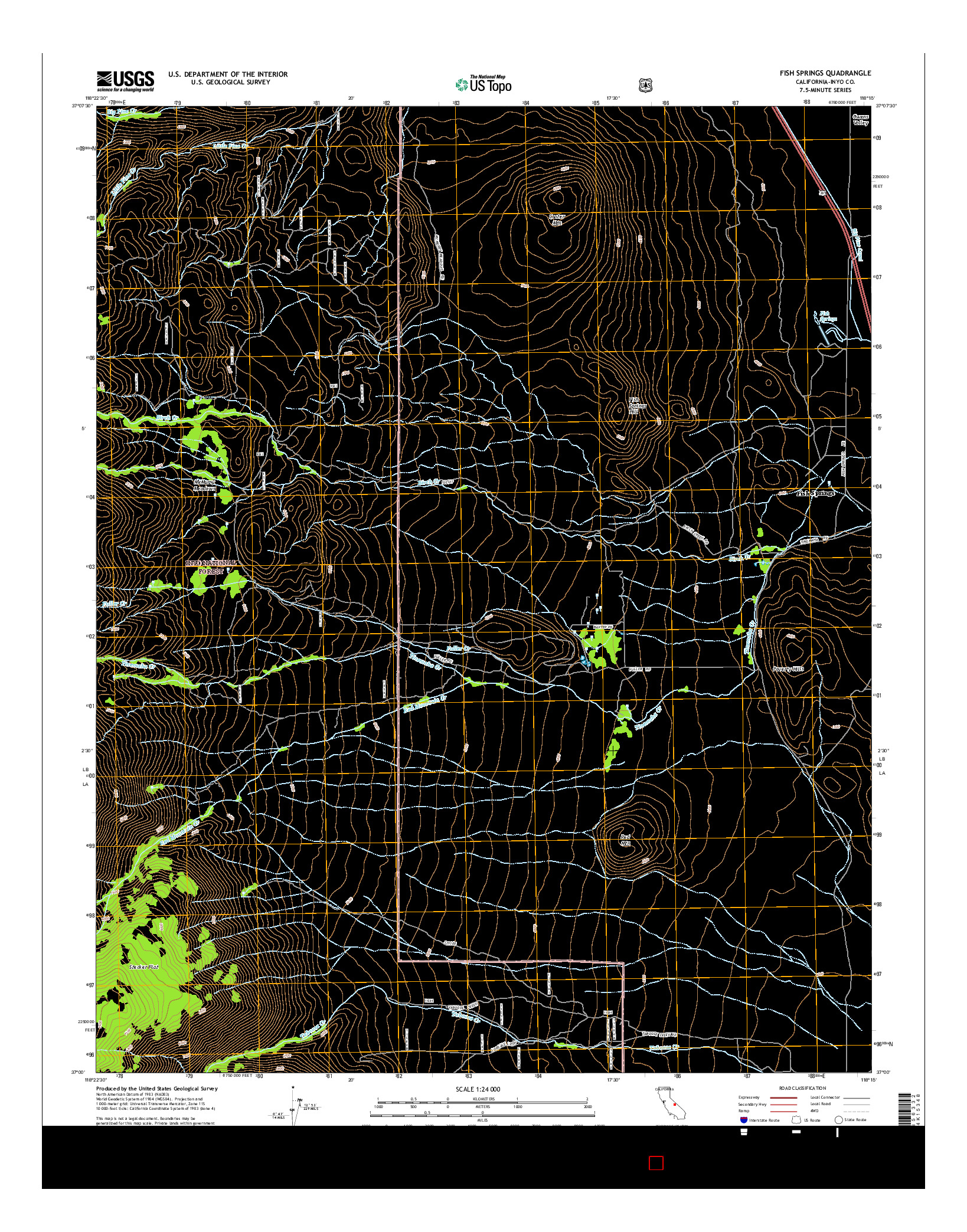 USGS US TOPO 7.5-MINUTE MAP FOR FISH SPRINGS, CA 2015