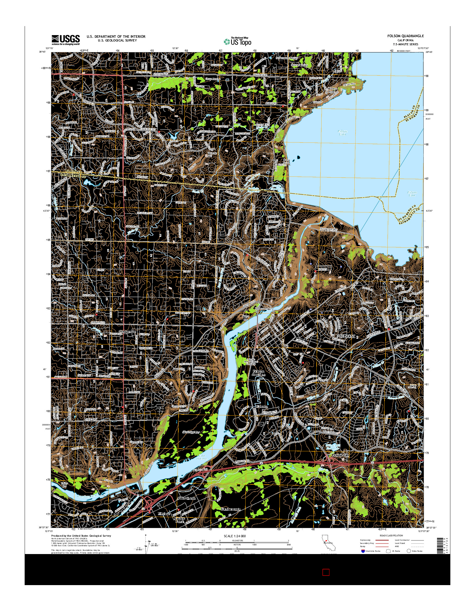 USGS US TOPO 7.5-MINUTE MAP FOR FOLSOM, CA 2015