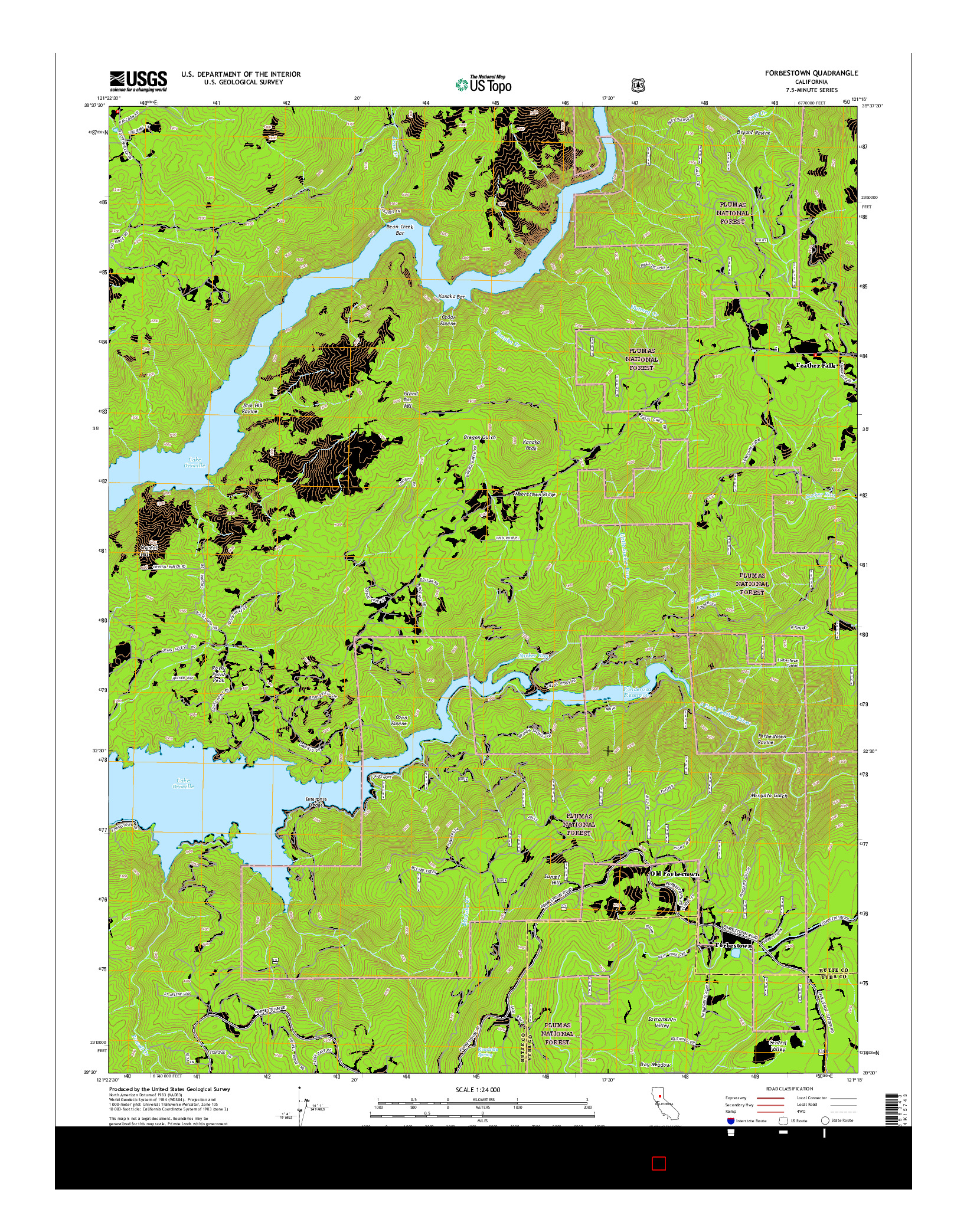 USGS US TOPO 7.5-MINUTE MAP FOR FORBESTOWN, CA 2015