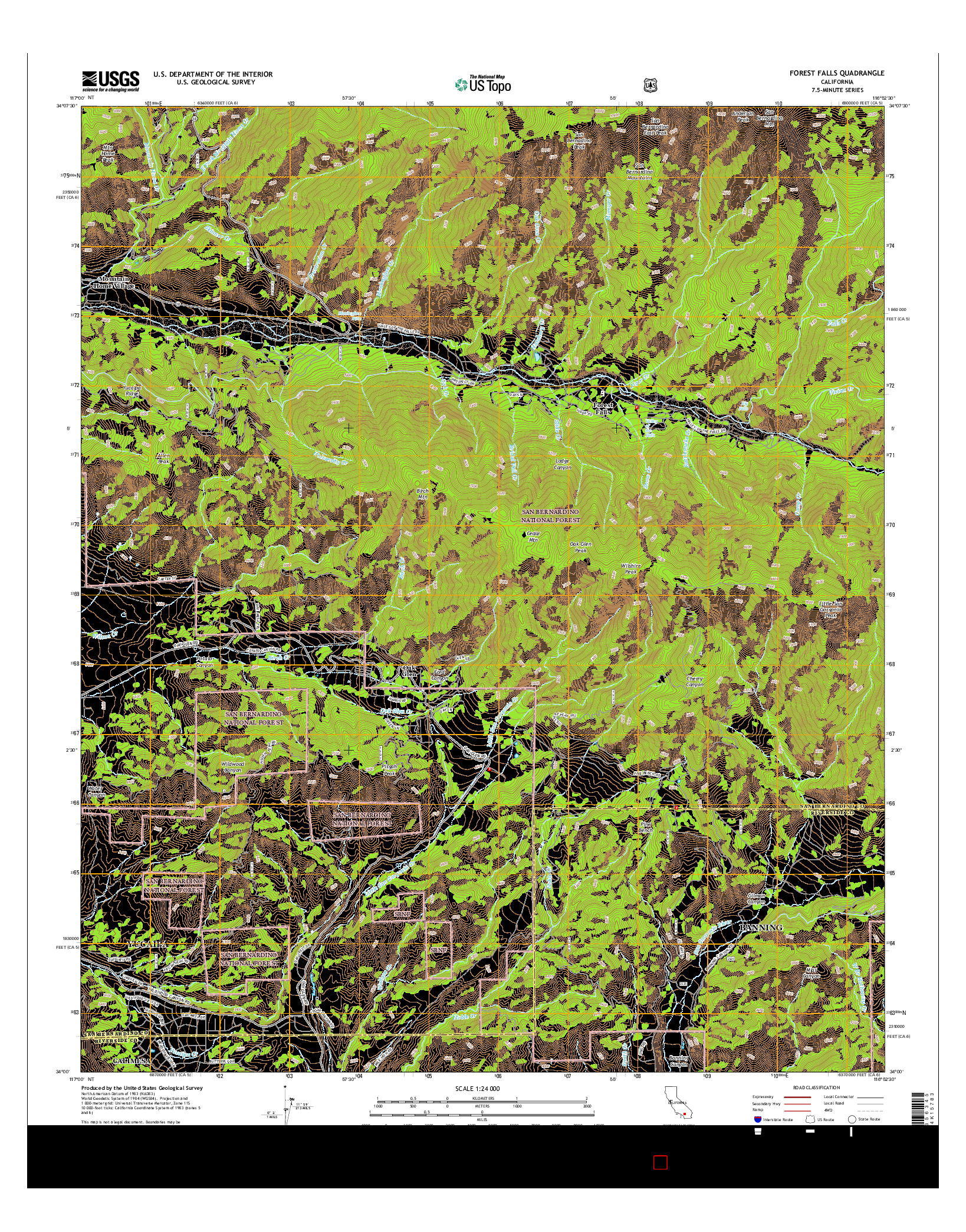 USGS US TOPO 7.5-MINUTE MAP FOR FOREST FALLS, CA 2015