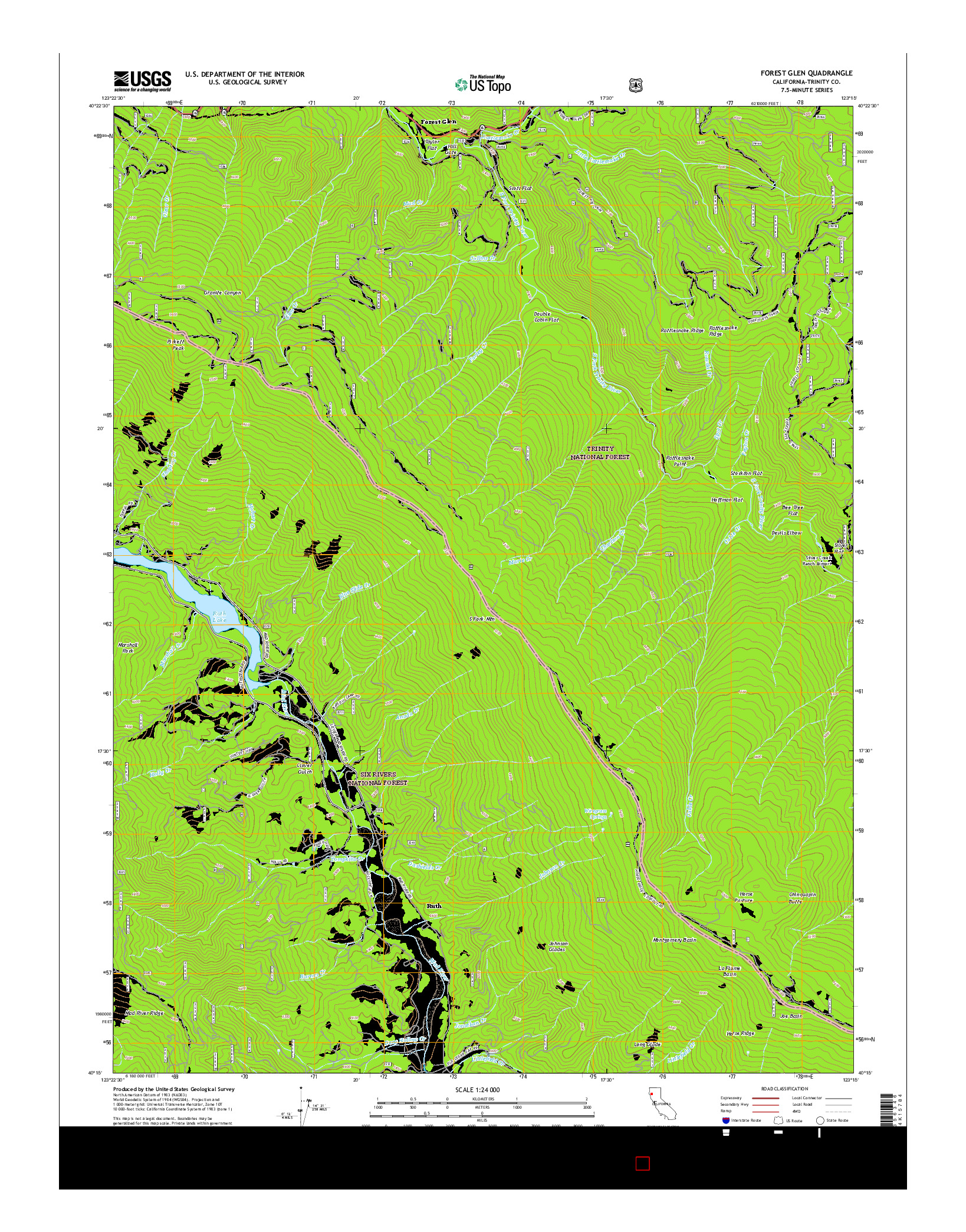 USGS US TOPO 7.5-MINUTE MAP FOR FOREST GLEN, CA 2015