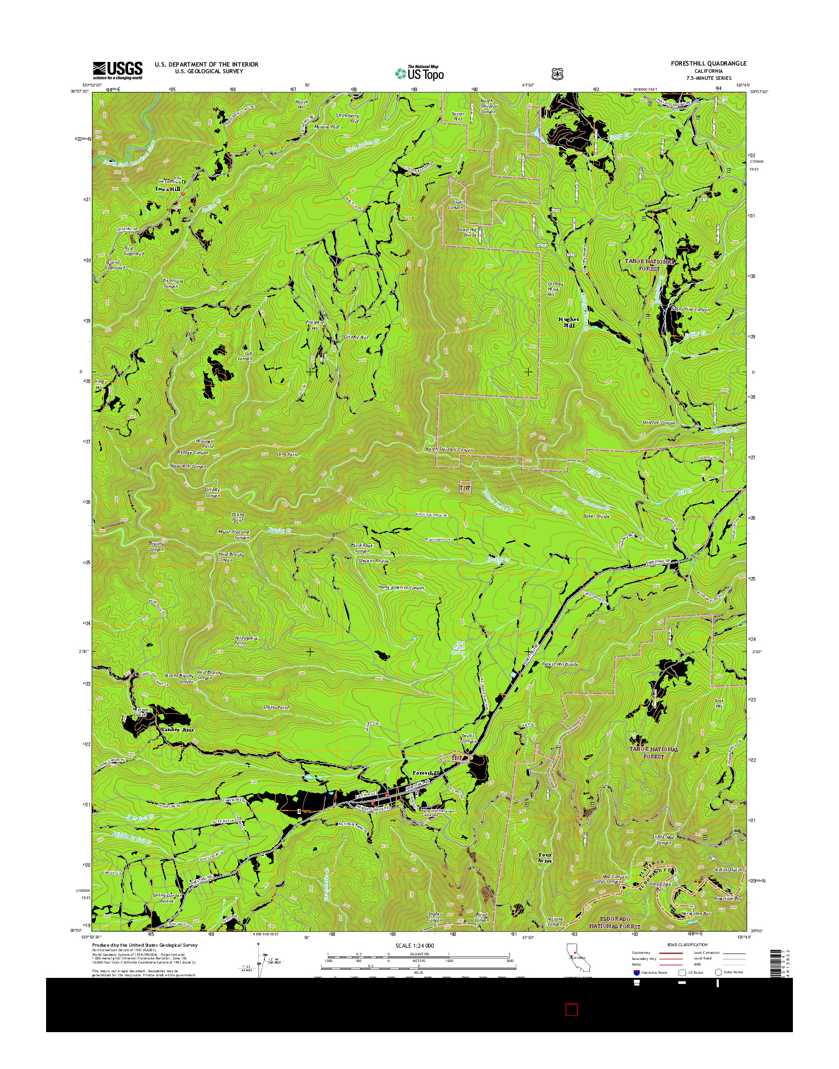 USGS US TOPO 7.5-MINUTE MAP FOR FORESTHILL, CA 2015