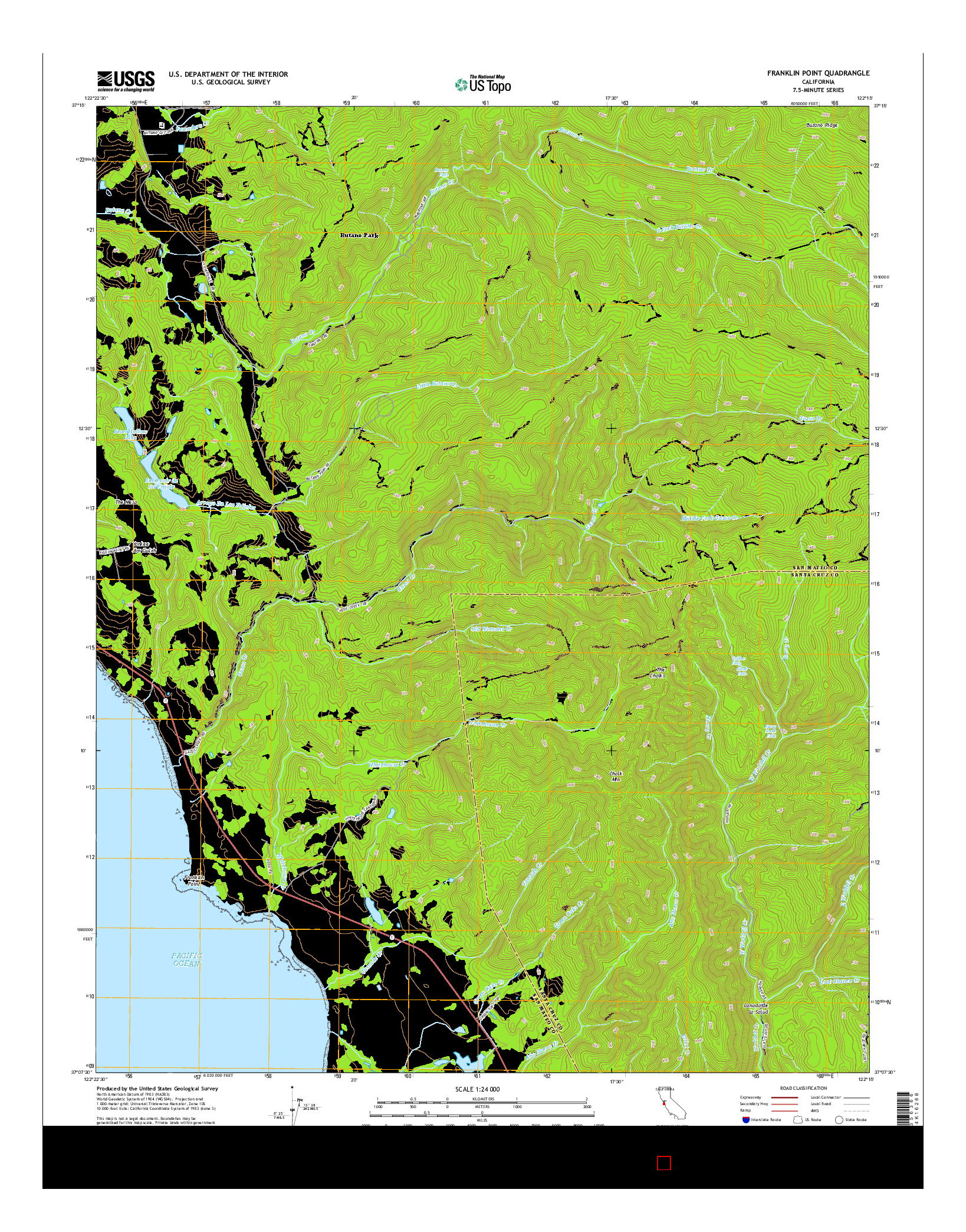 USGS US TOPO 7.5-MINUTE MAP FOR FRANKLIN POINT, CA 2015