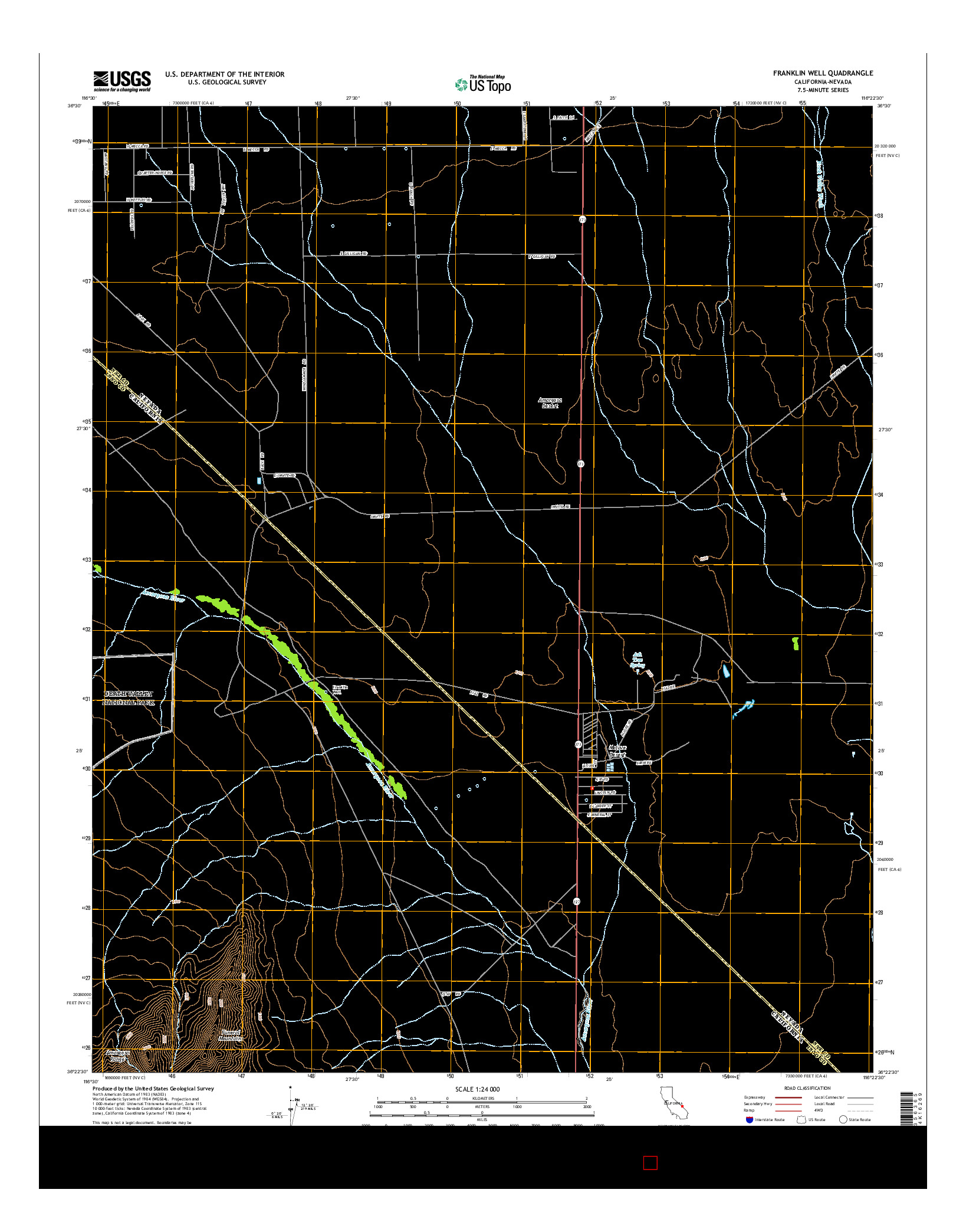 USGS US TOPO 7.5-MINUTE MAP FOR FRANKLIN WELL, CA-NV 2015