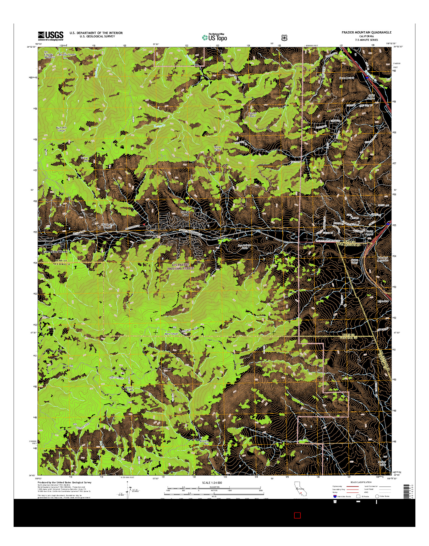 USGS US TOPO 7.5-MINUTE MAP FOR FRAZIER MOUNTAIN, CA 2015